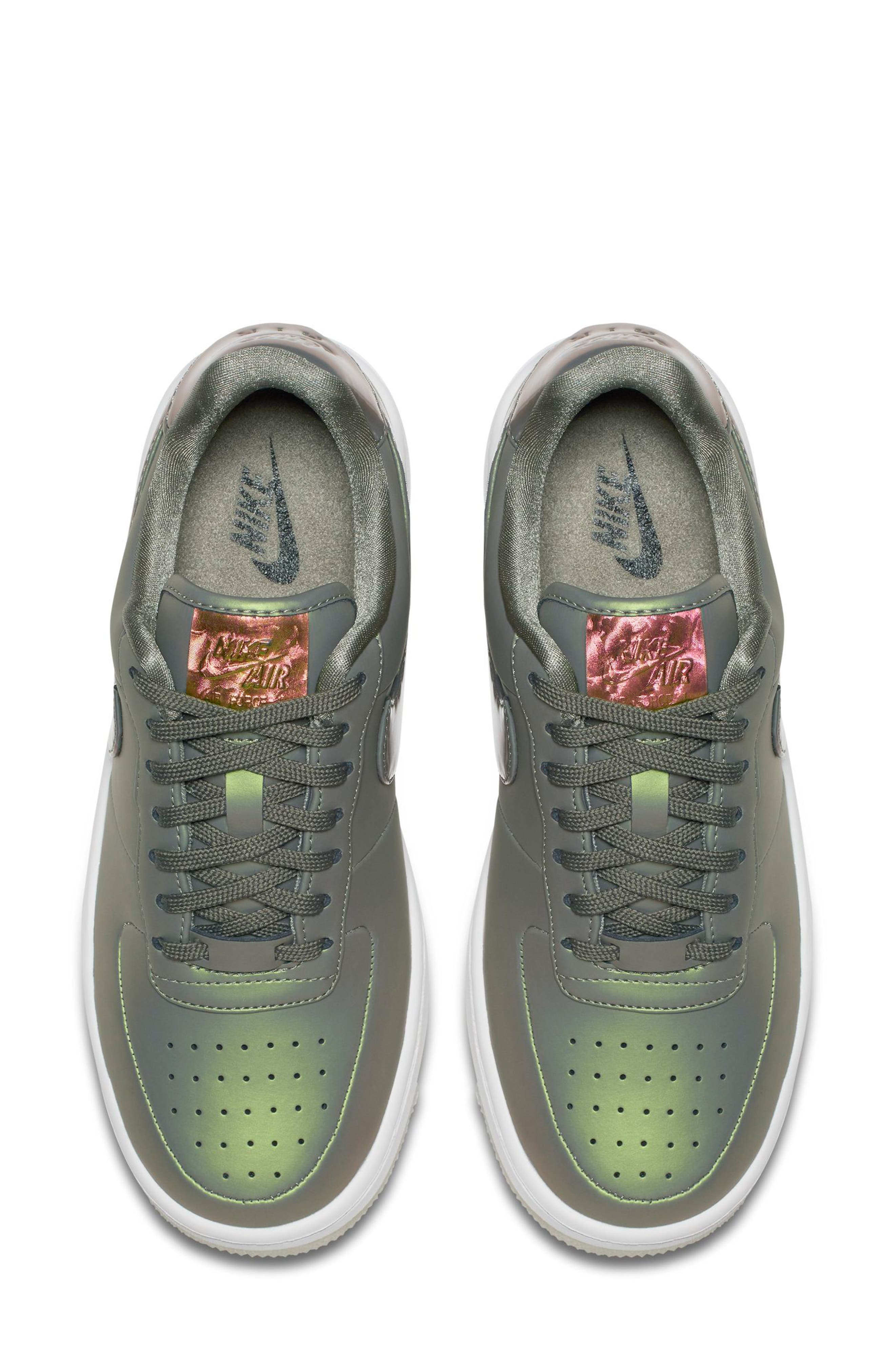 Air Force 1 Upstep Premium LX Shoe,                             Alternate thumbnail 4, color,                             Dark Stucco/ Stucco/ White