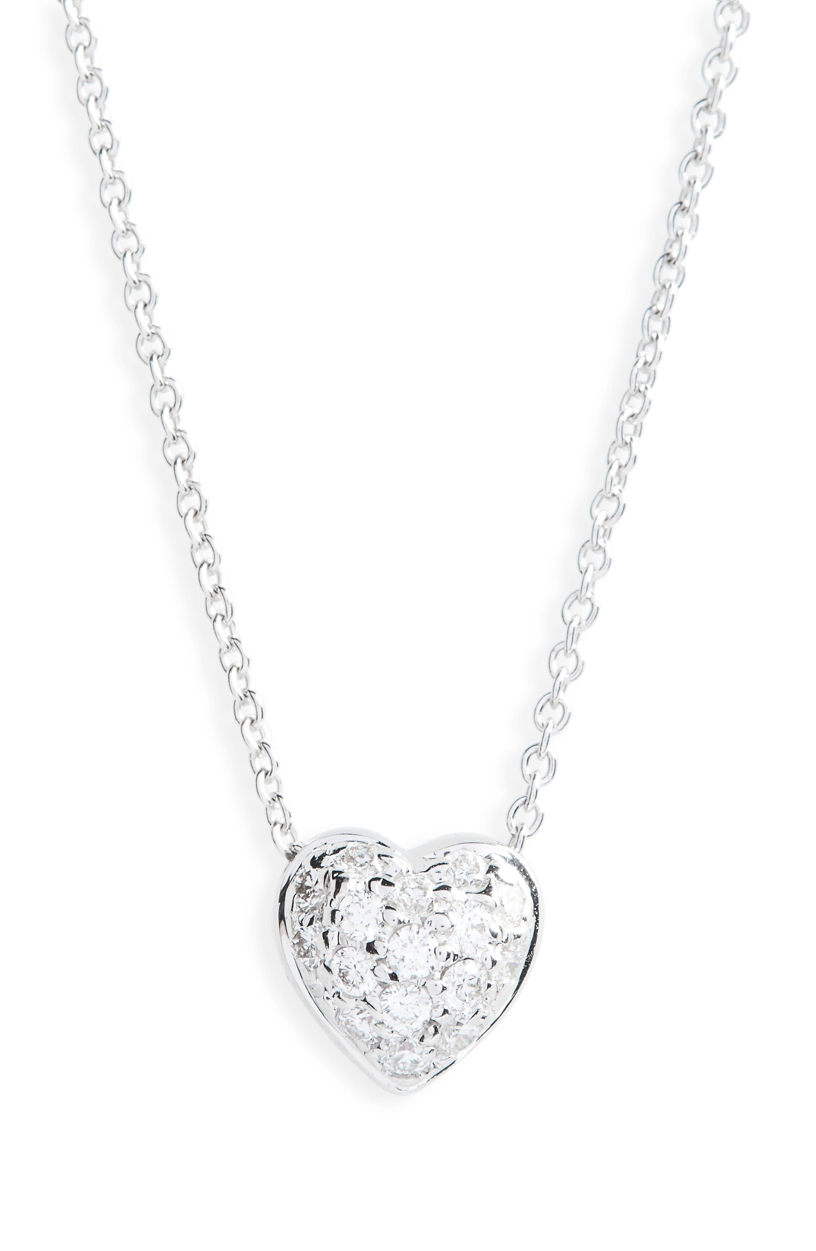 Pavé Heart Pendant Necklace,                         Main,                         color, Puffed Heart