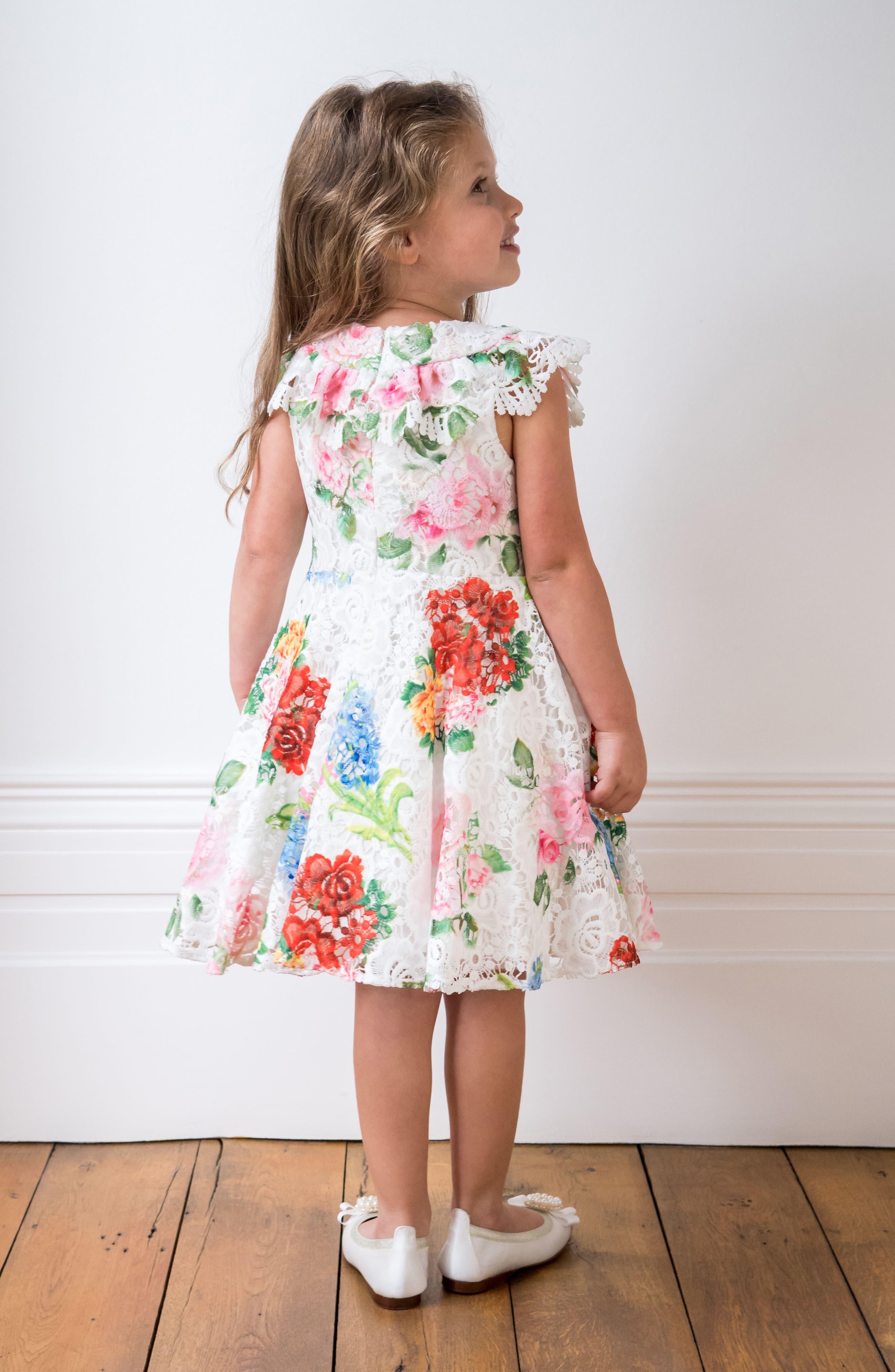 Print Lace Dress,                             Alternate thumbnail 4, color,                             Ivory/ Multi Color