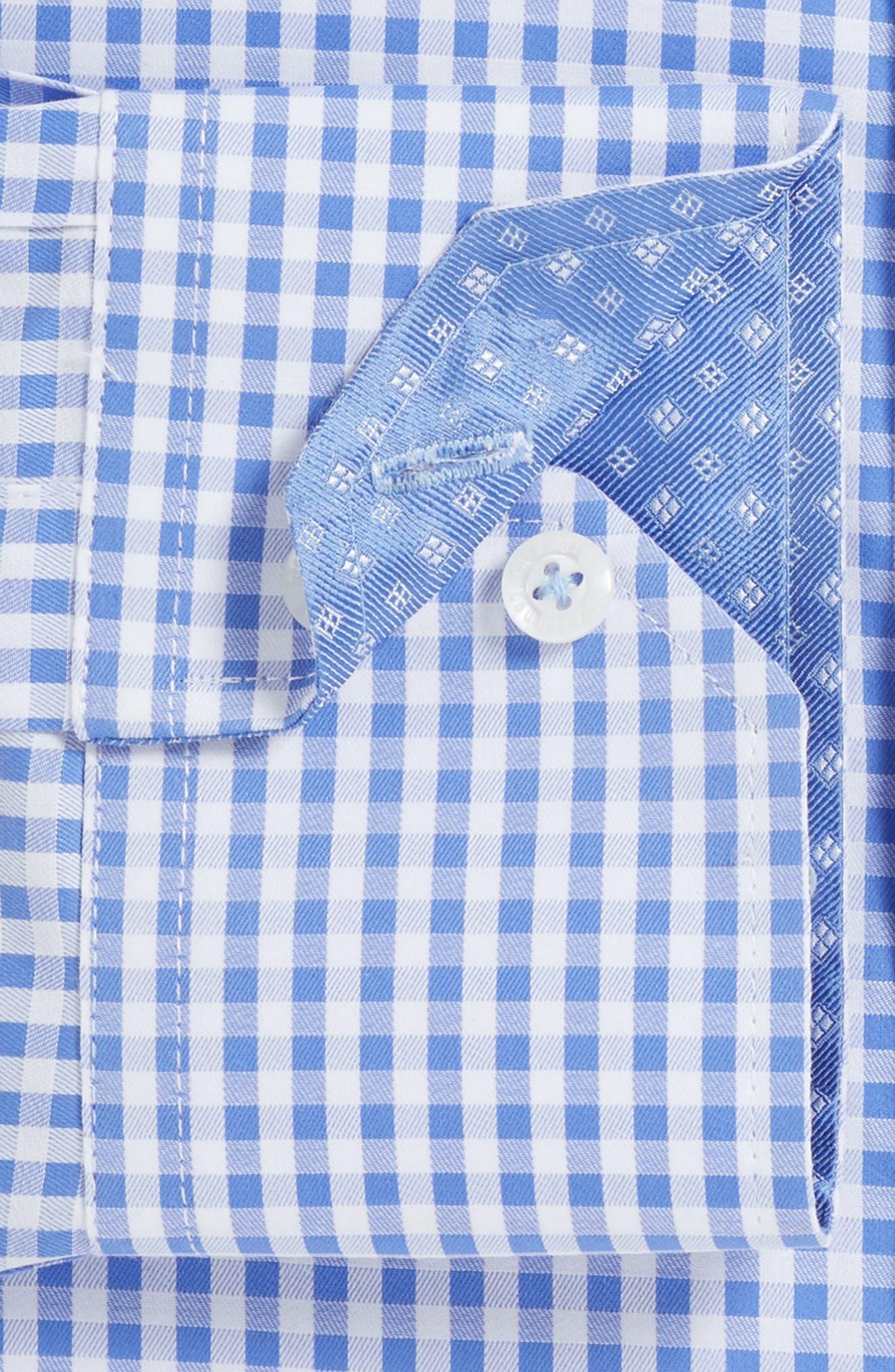 Trim Fit Check Dress Shirt,                             Alternate thumbnail 2, color,                             Blue