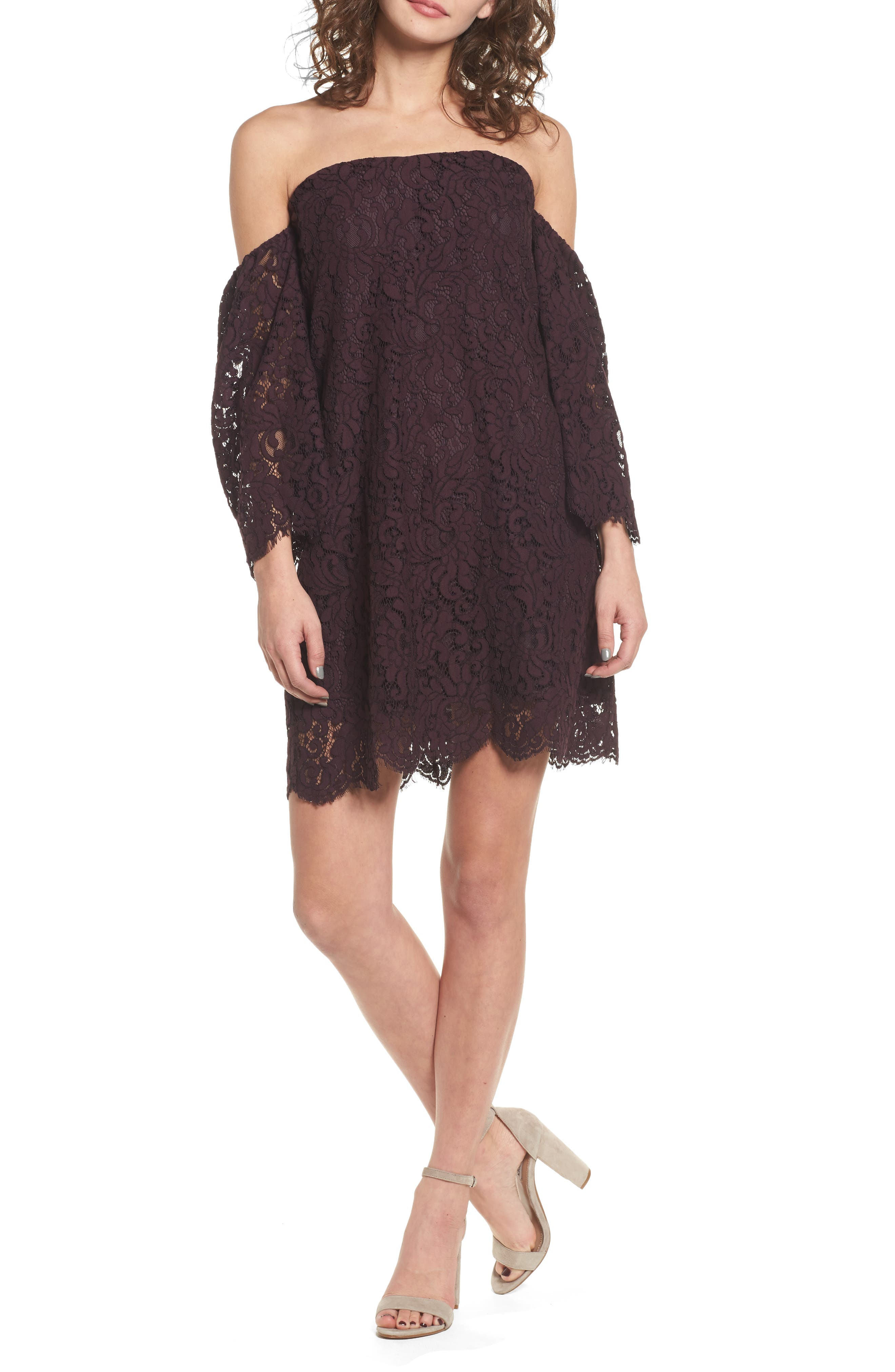 cupcakes and cashmere Adalira Off the Shoulder Lace Dress