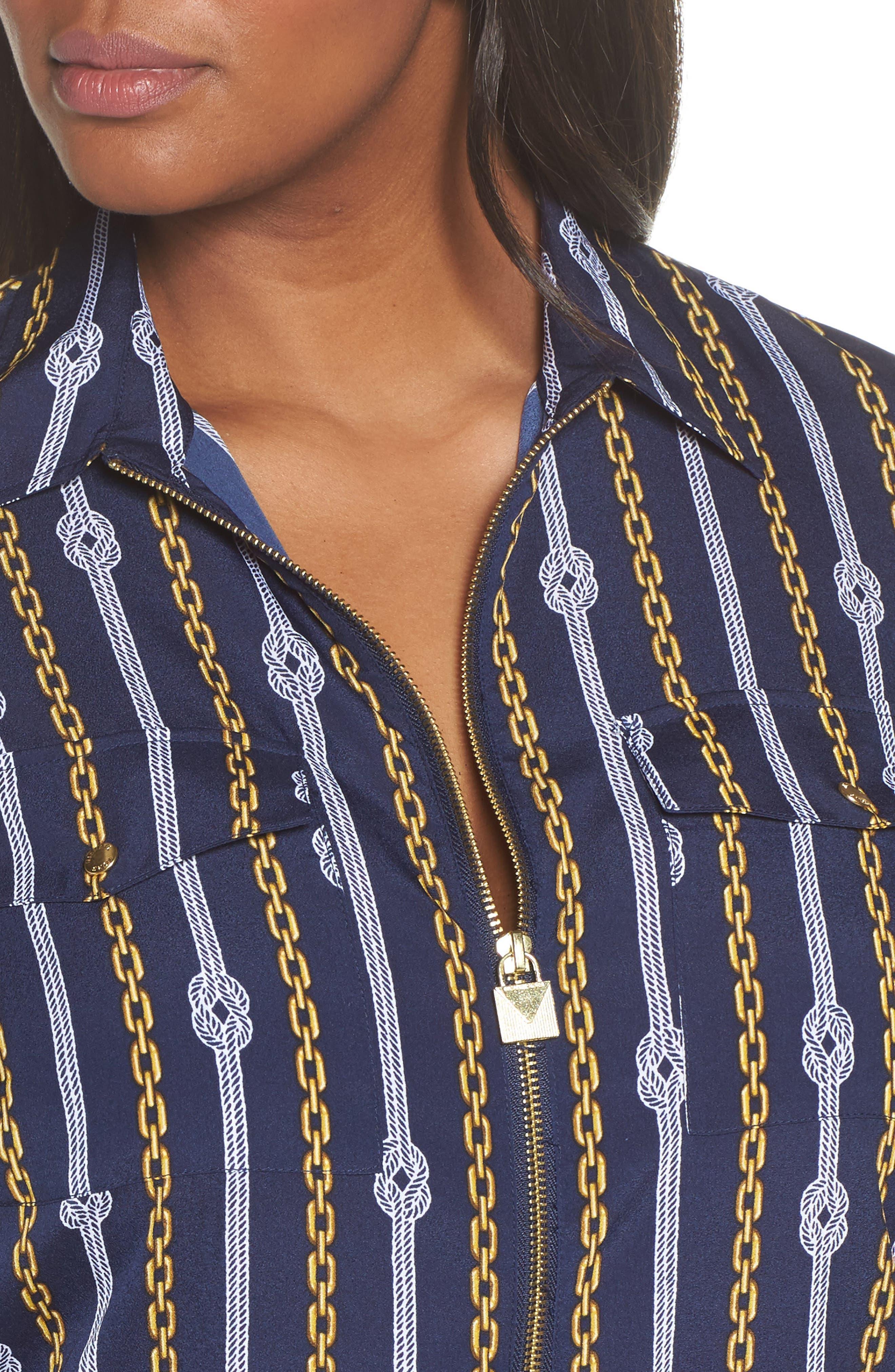 Print Zip Front Top,                             Alternate thumbnail 4, color,                             True Navy/ Gold