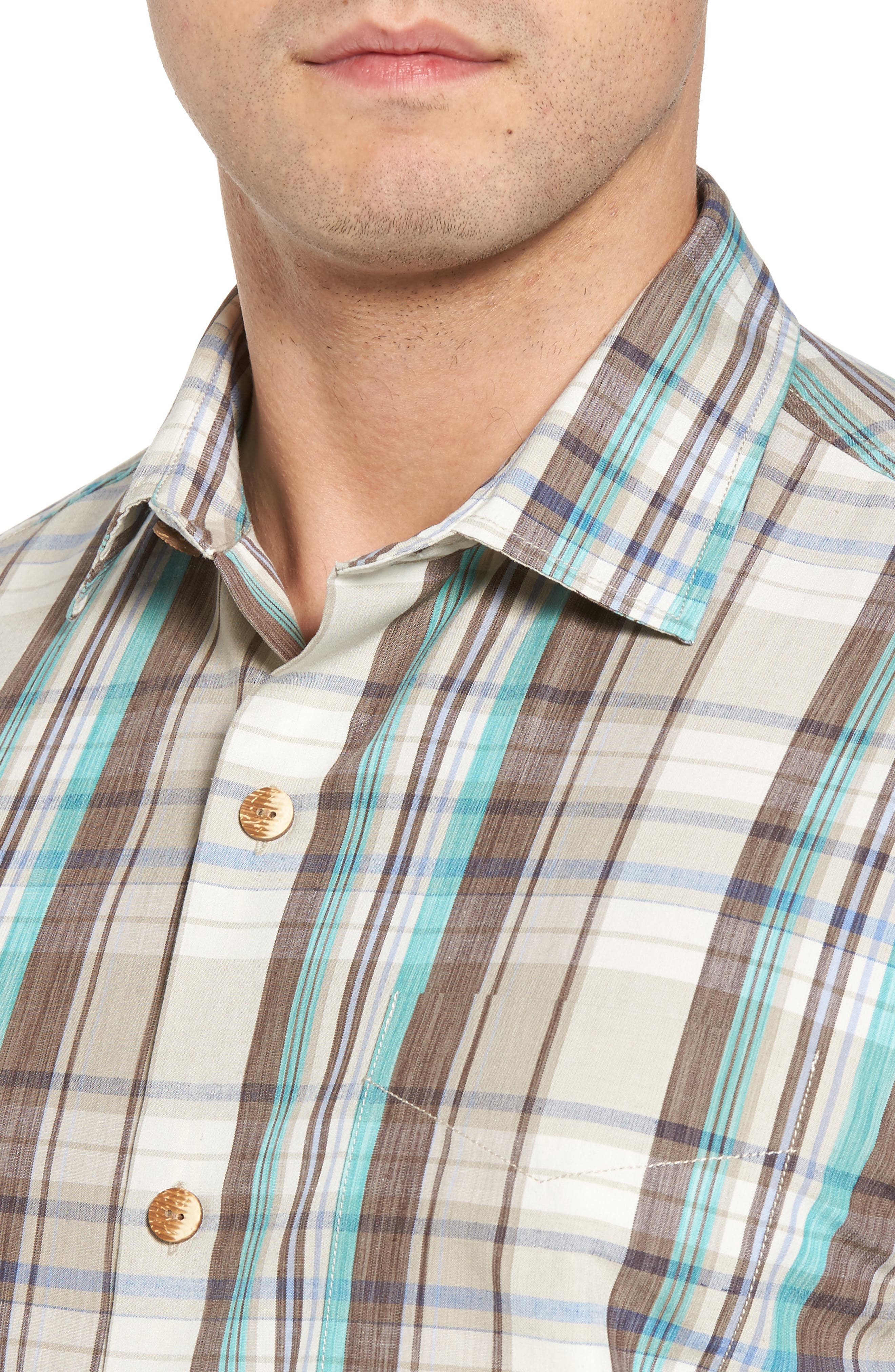 Royal Palm Plaid Sport Shirt,                             Alternate thumbnail 4, color,                             Twill