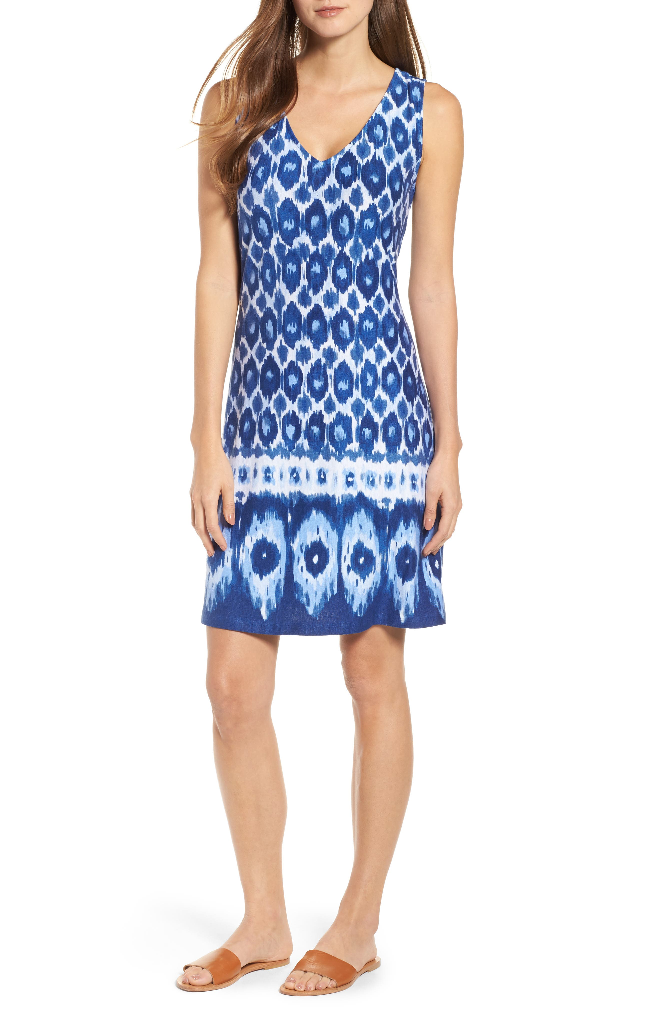 Innercoastal Ikat Sleeveless Dress,                             Main thumbnail 1, color,                             Kingdom Blue