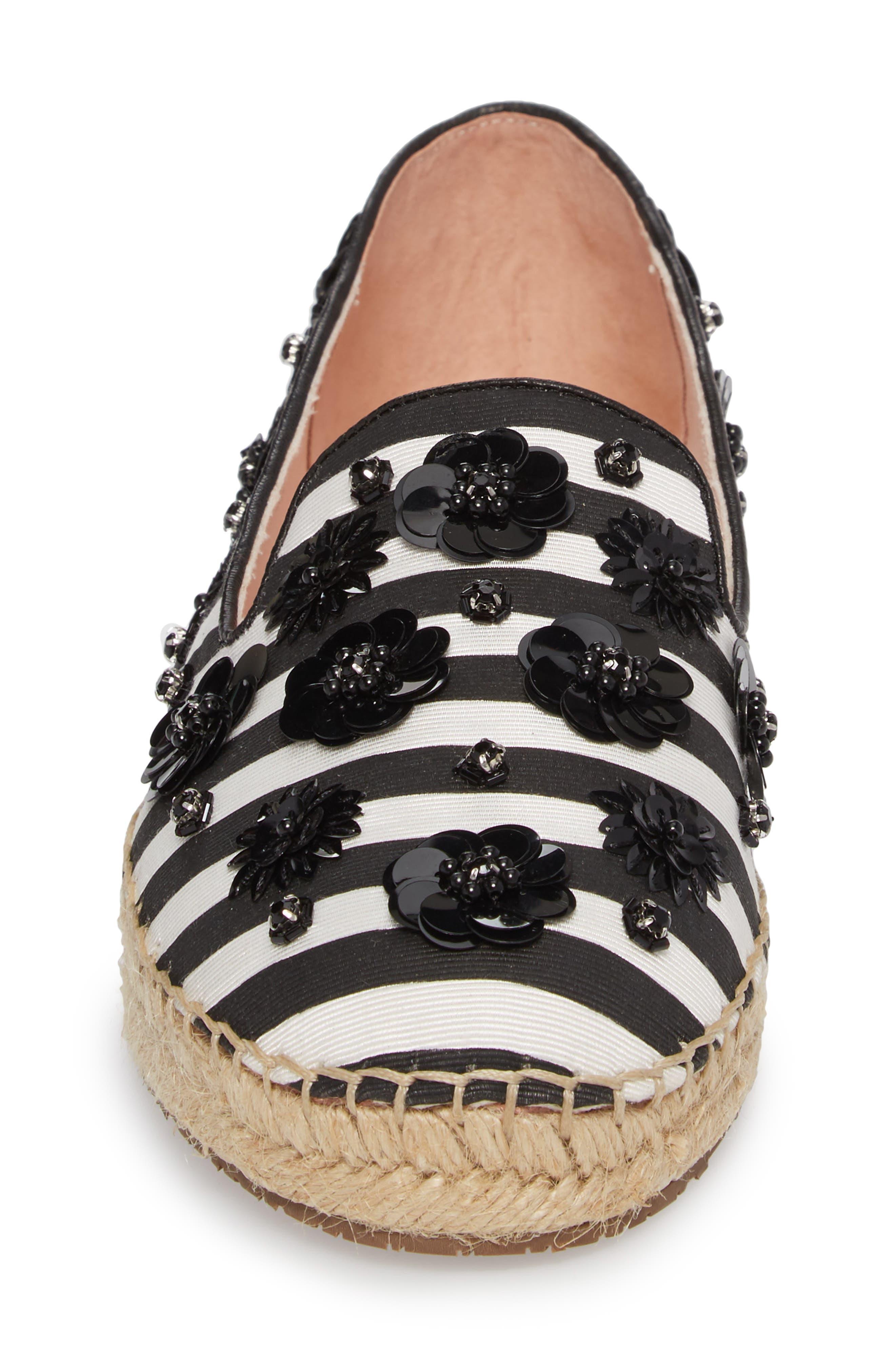 leigh embellished espadrille flat,                             Alternate thumbnail 4, color,                             Black/ White Striped