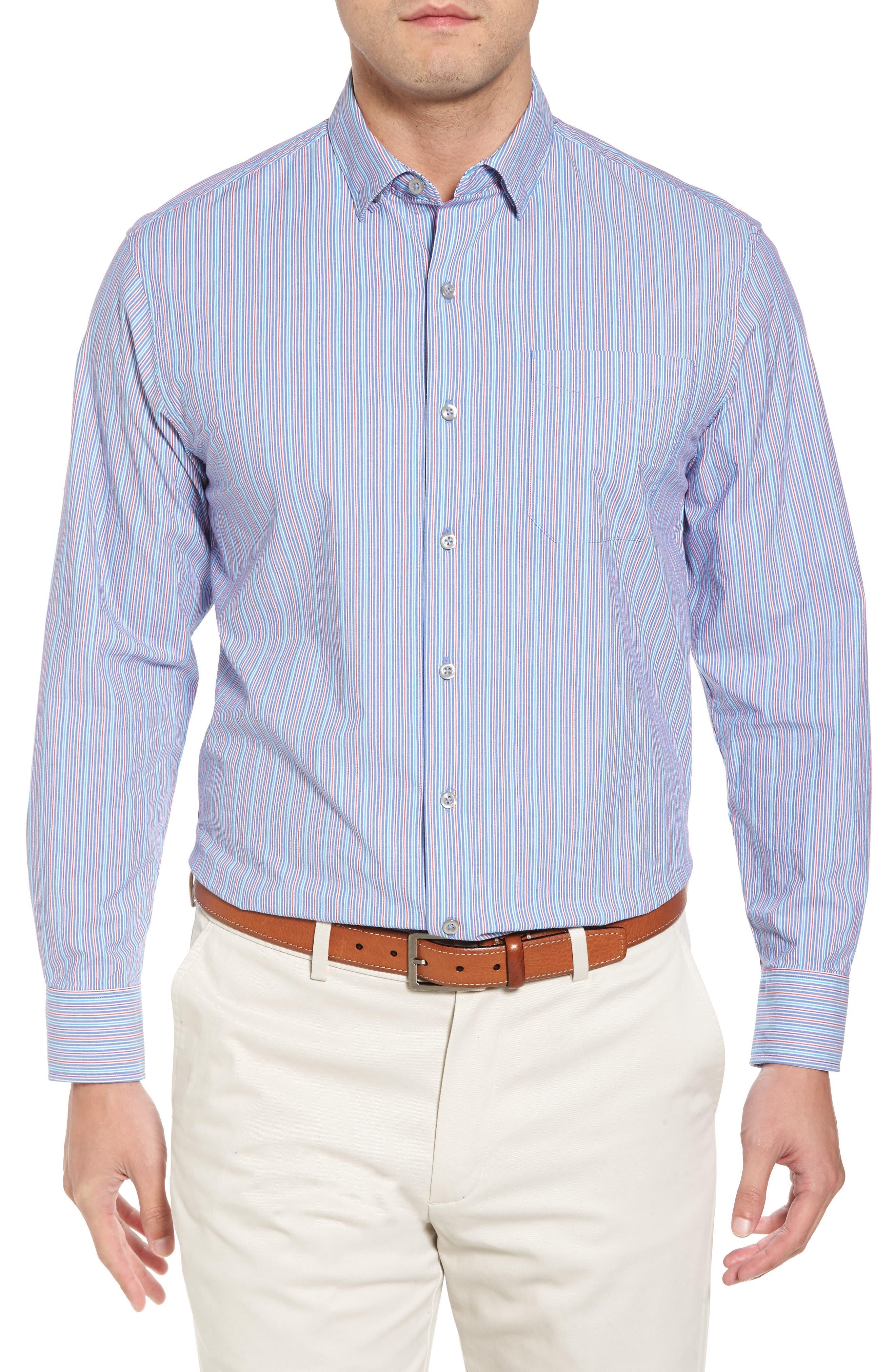 Tallahassee Cotton & Silk Blend Sport Shirt,                             Main thumbnail 1, color,                             Cobalt Sea