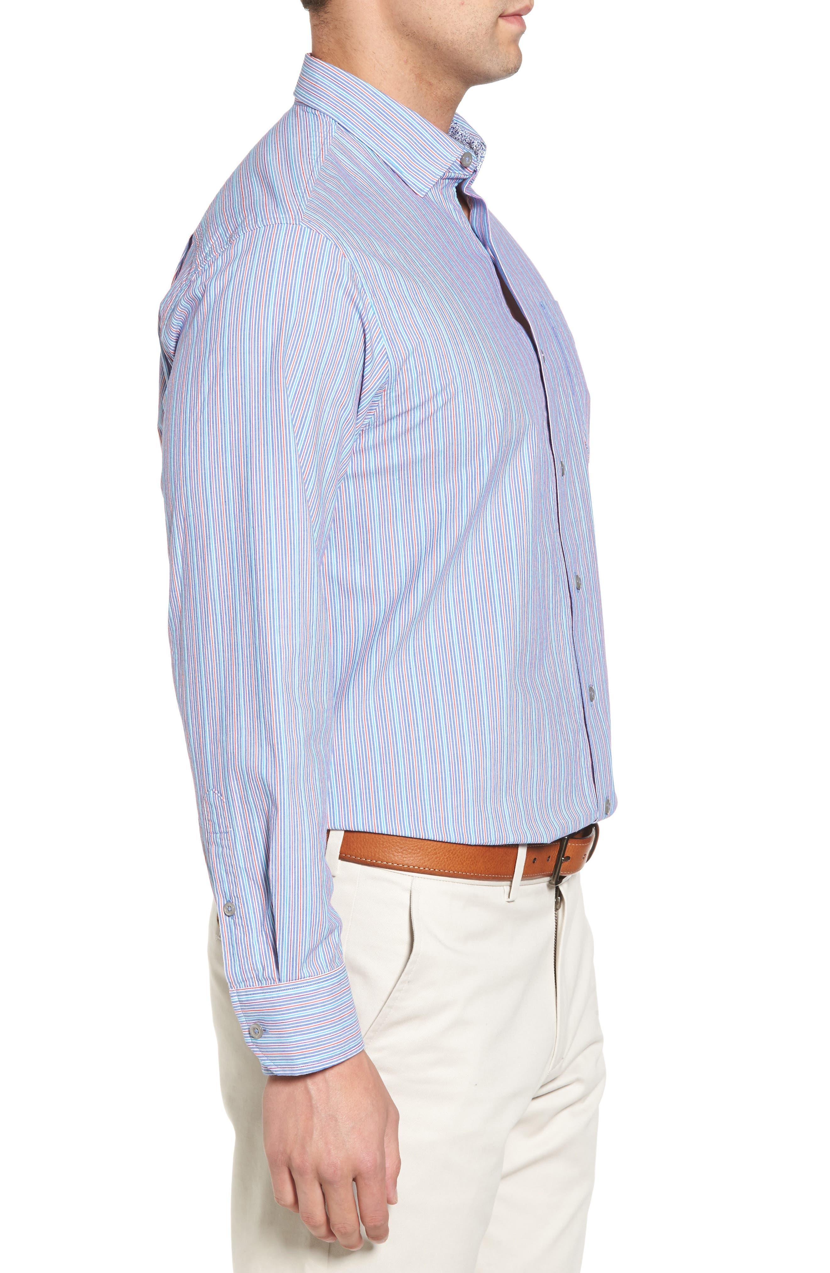 Tallahassee Cotton & Silk Blend Sport Shirt,                             Alternate thumbnail 3, color,                             Cobalt Sea
