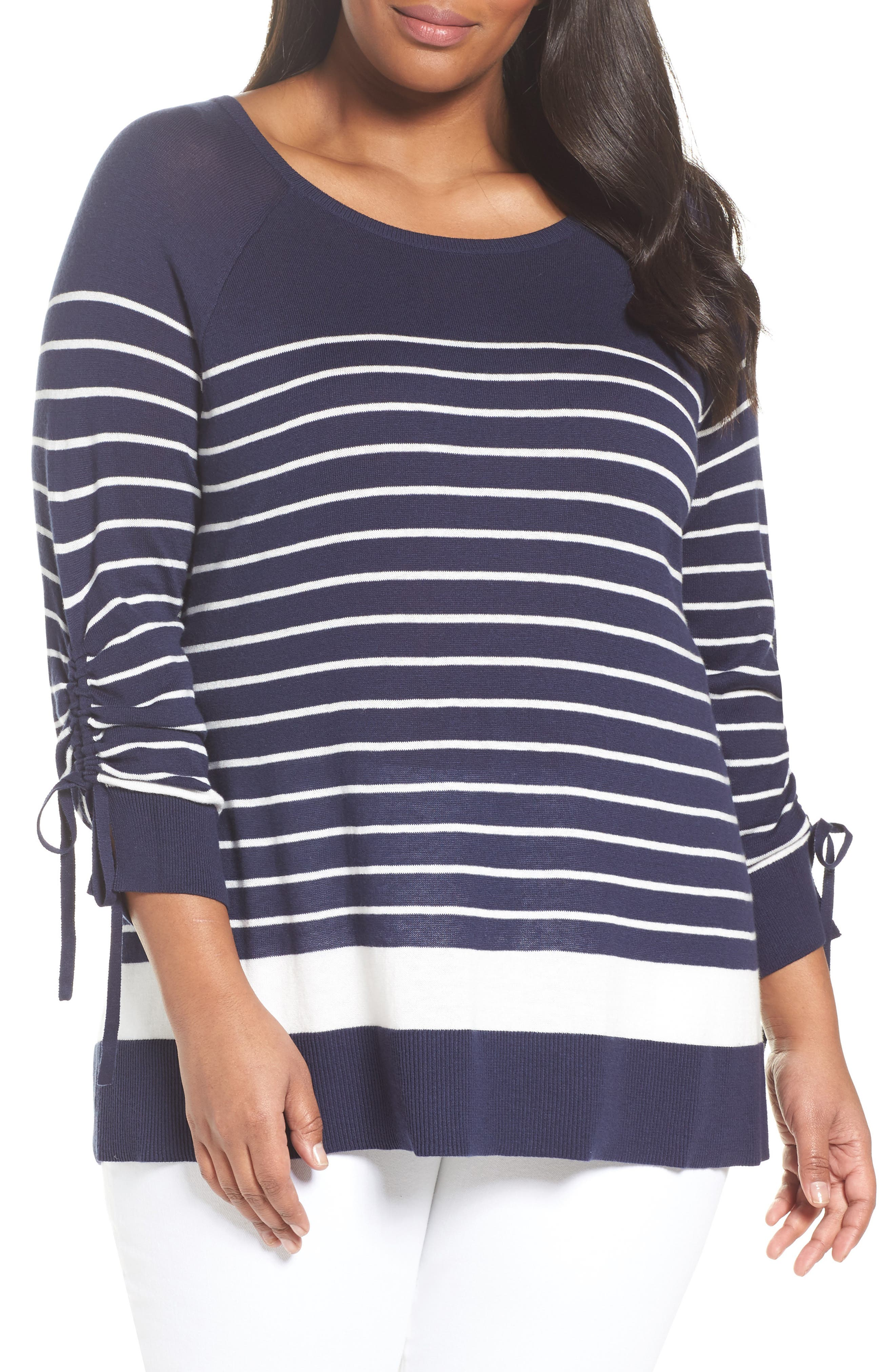Sejour Drawstring Sleeve Sweater (Plus Size)
