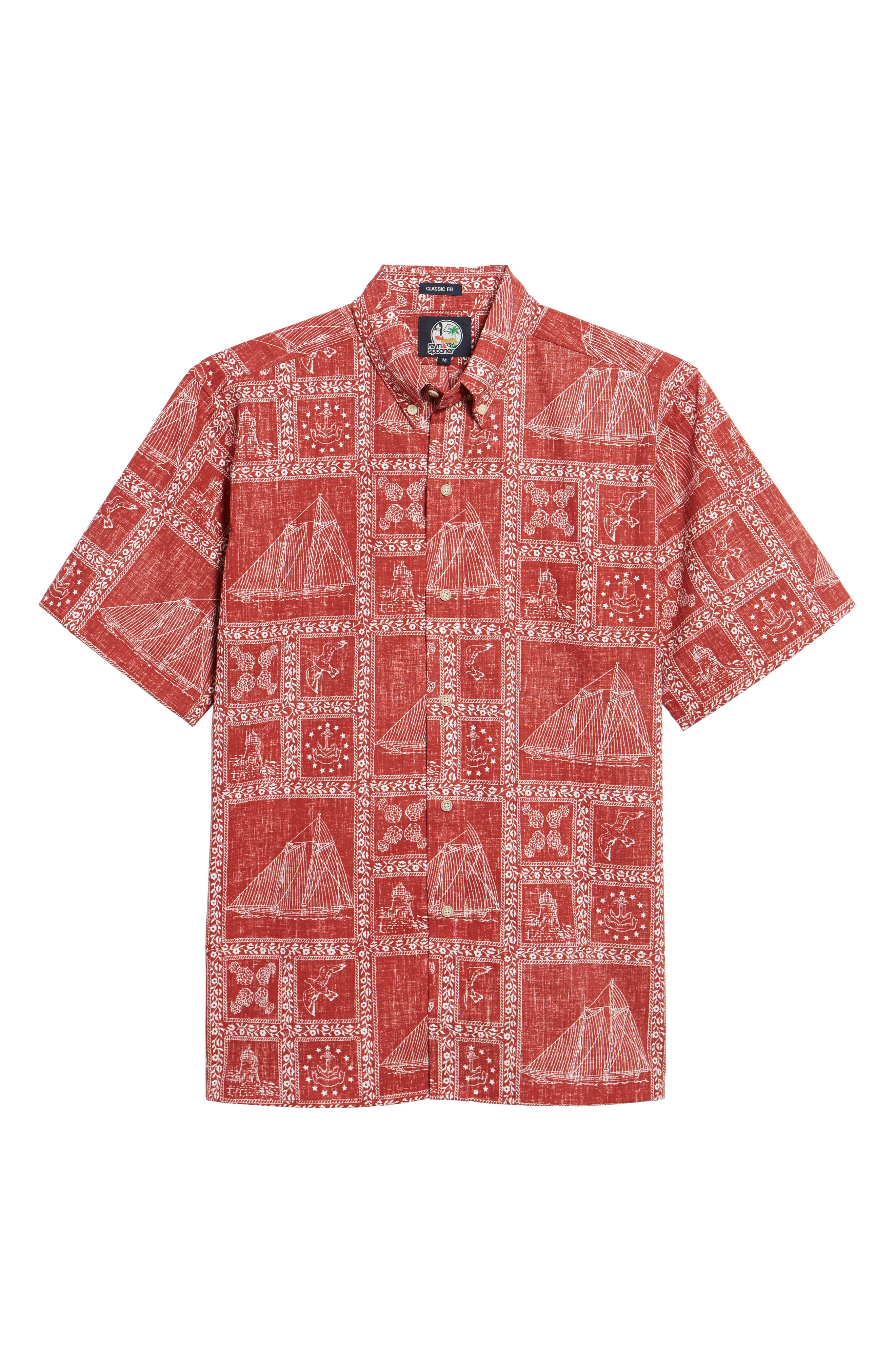 Newport Sailor Classic Fit Print Sport Shirt,                             Alternate thumbnail 6, color,                             Red