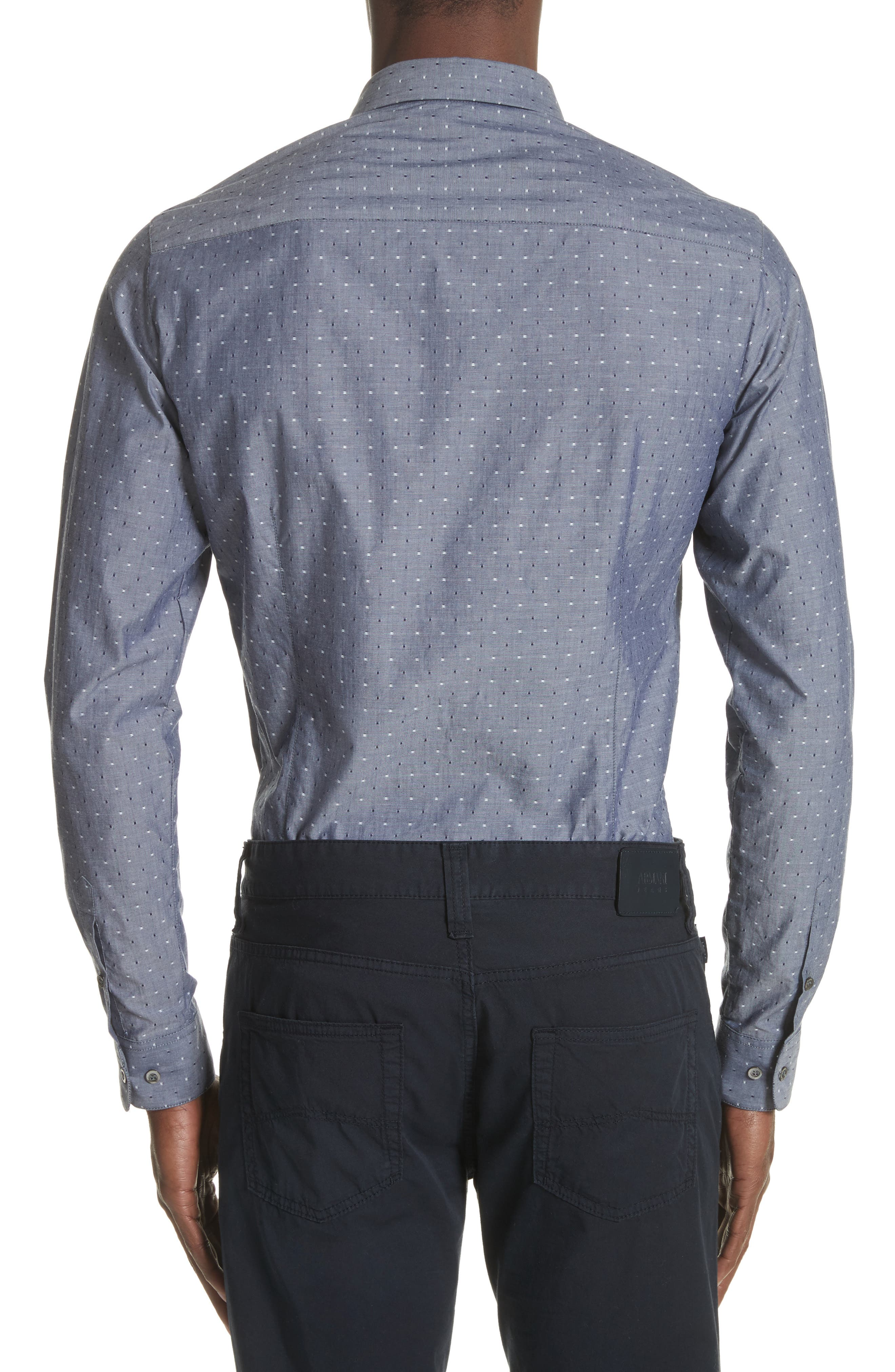 Slim Fit Chambray Pin Dot Sport Shirt,                             Alternate thumbnail 2, color,                             Fantasia Blue