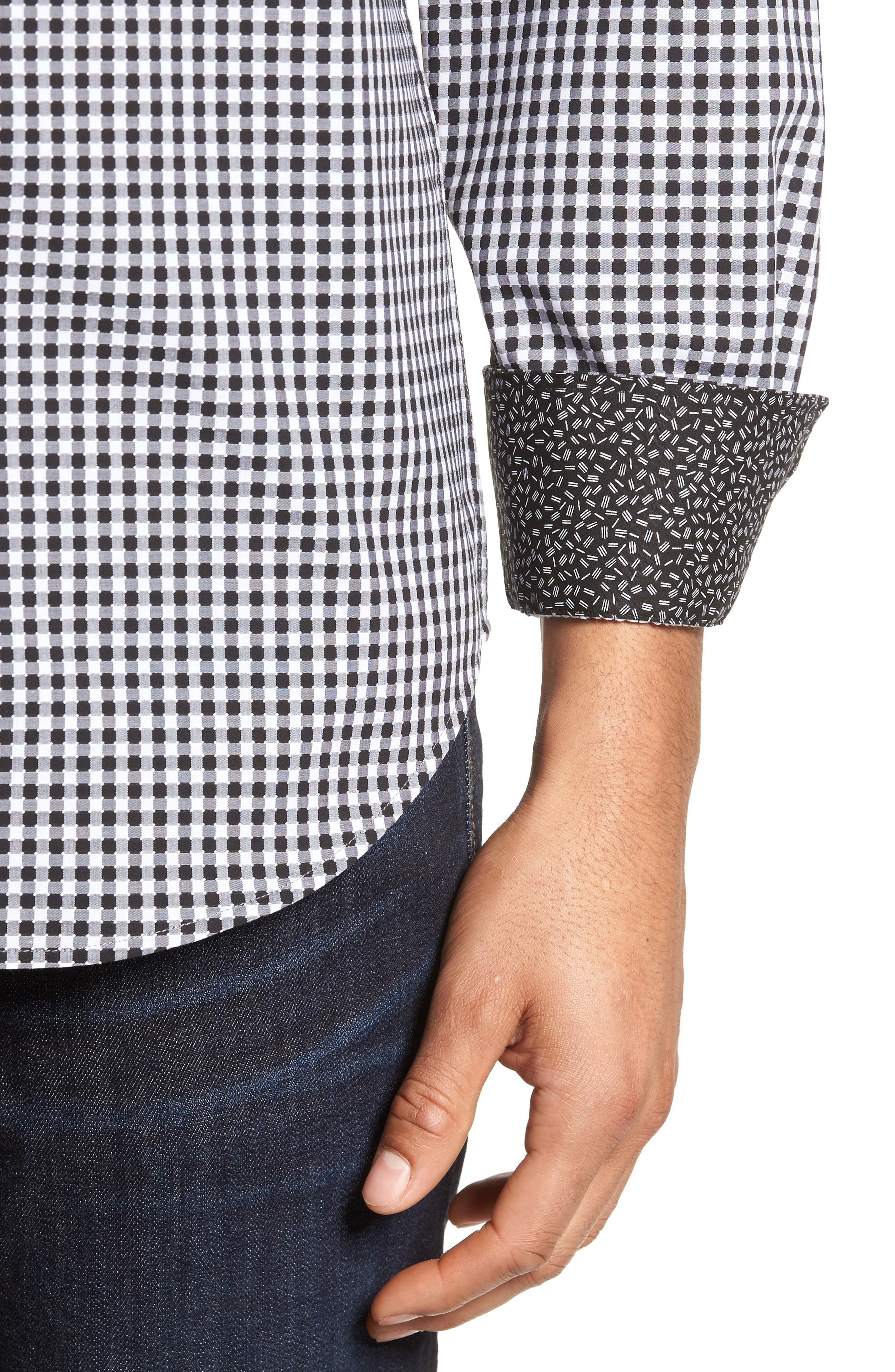 Alternate Image 4  - Bugatchi Shaped Fit Check Sport Shirt