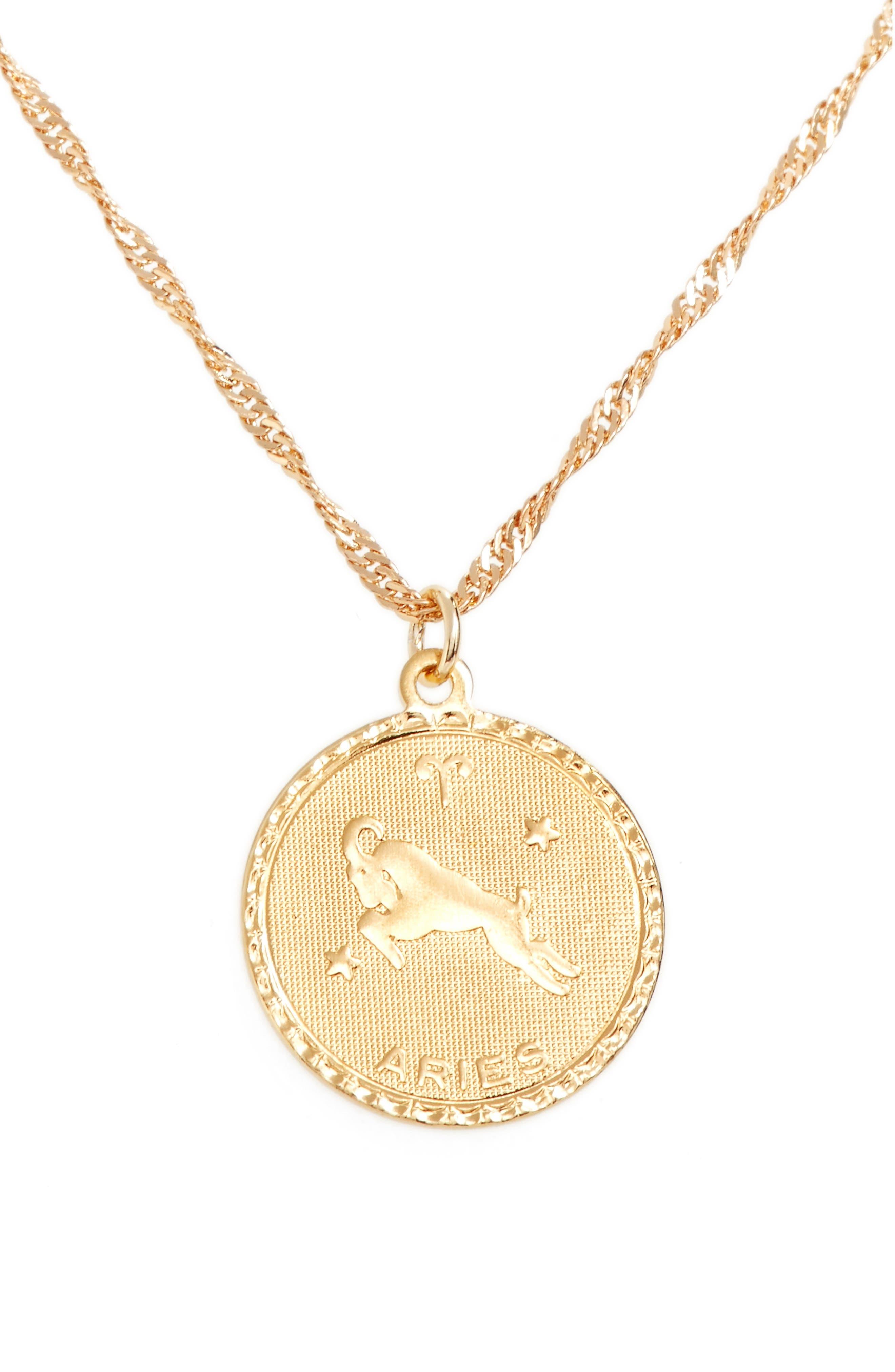 Ascending Aries Pendant Necklace,                             Main thumbnail 1, color,                             Yellow Gold