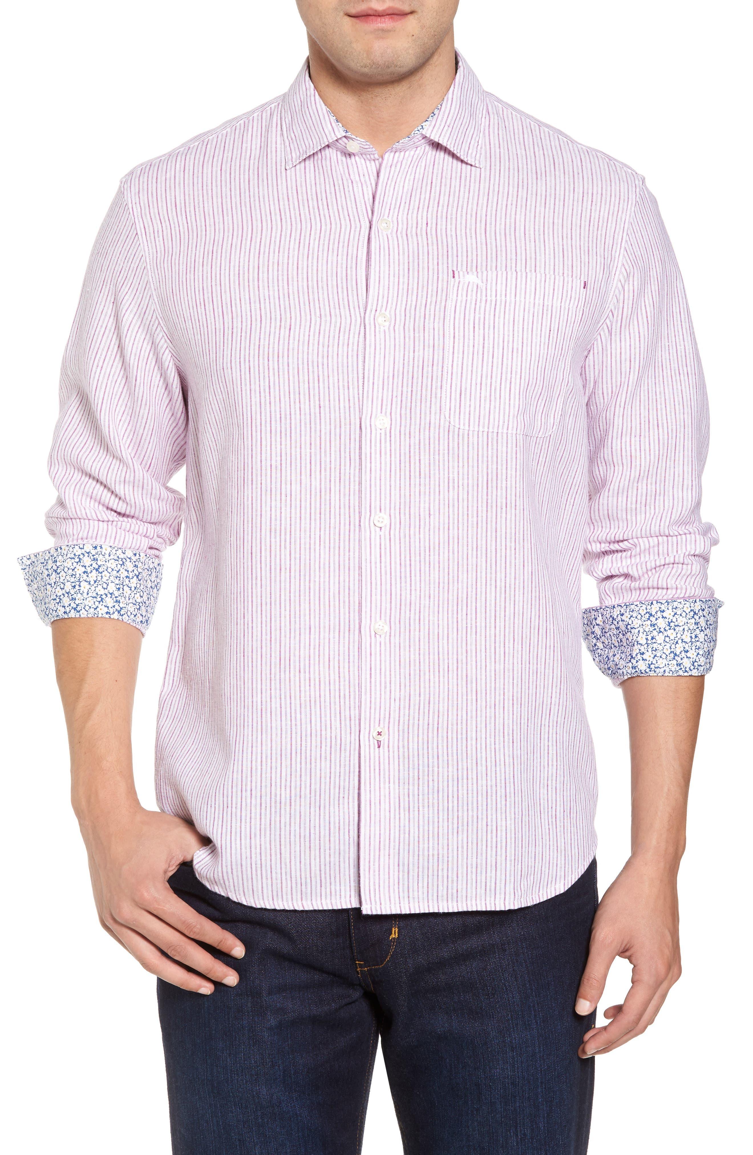 Bungalow Stripe Regular Fit Linen Blend Sport Shirt,                         Main,                         color, Ultra Violet