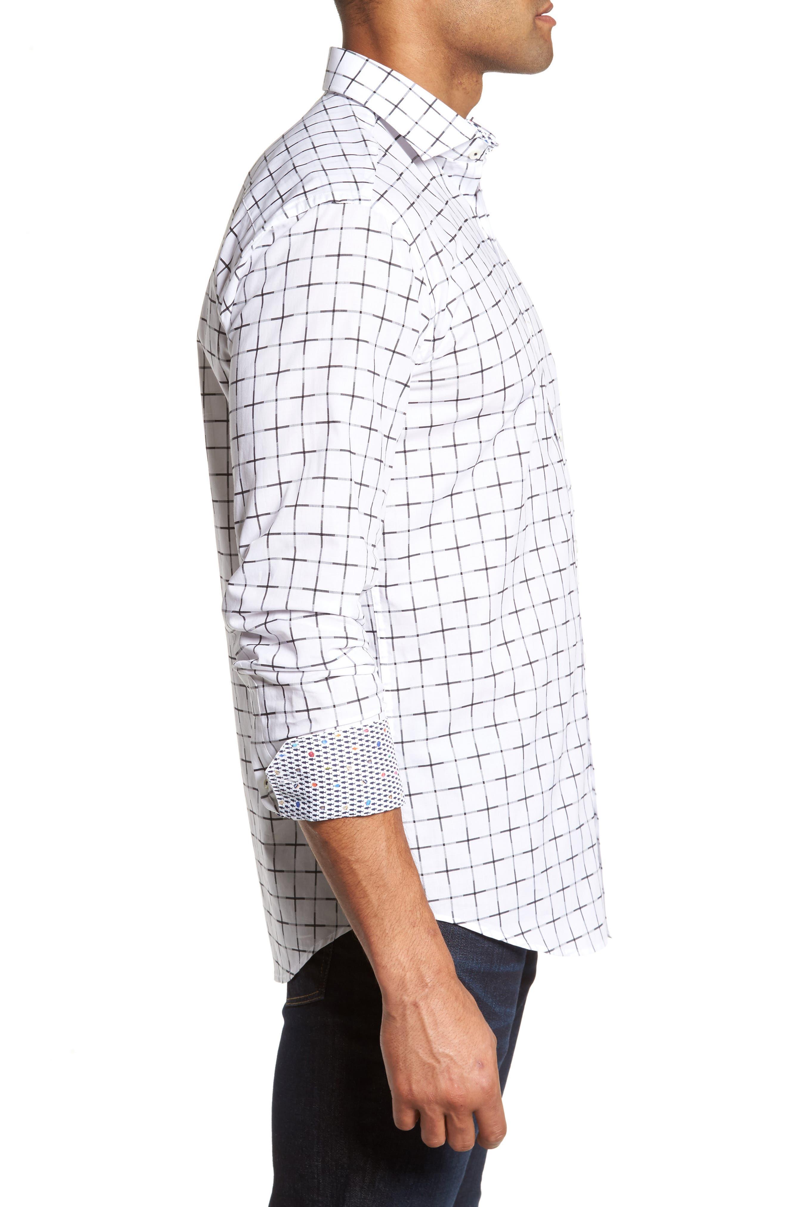 Shaped Fit Print Sport Shirt,                             Alternate thumbnail 3, color,                             White