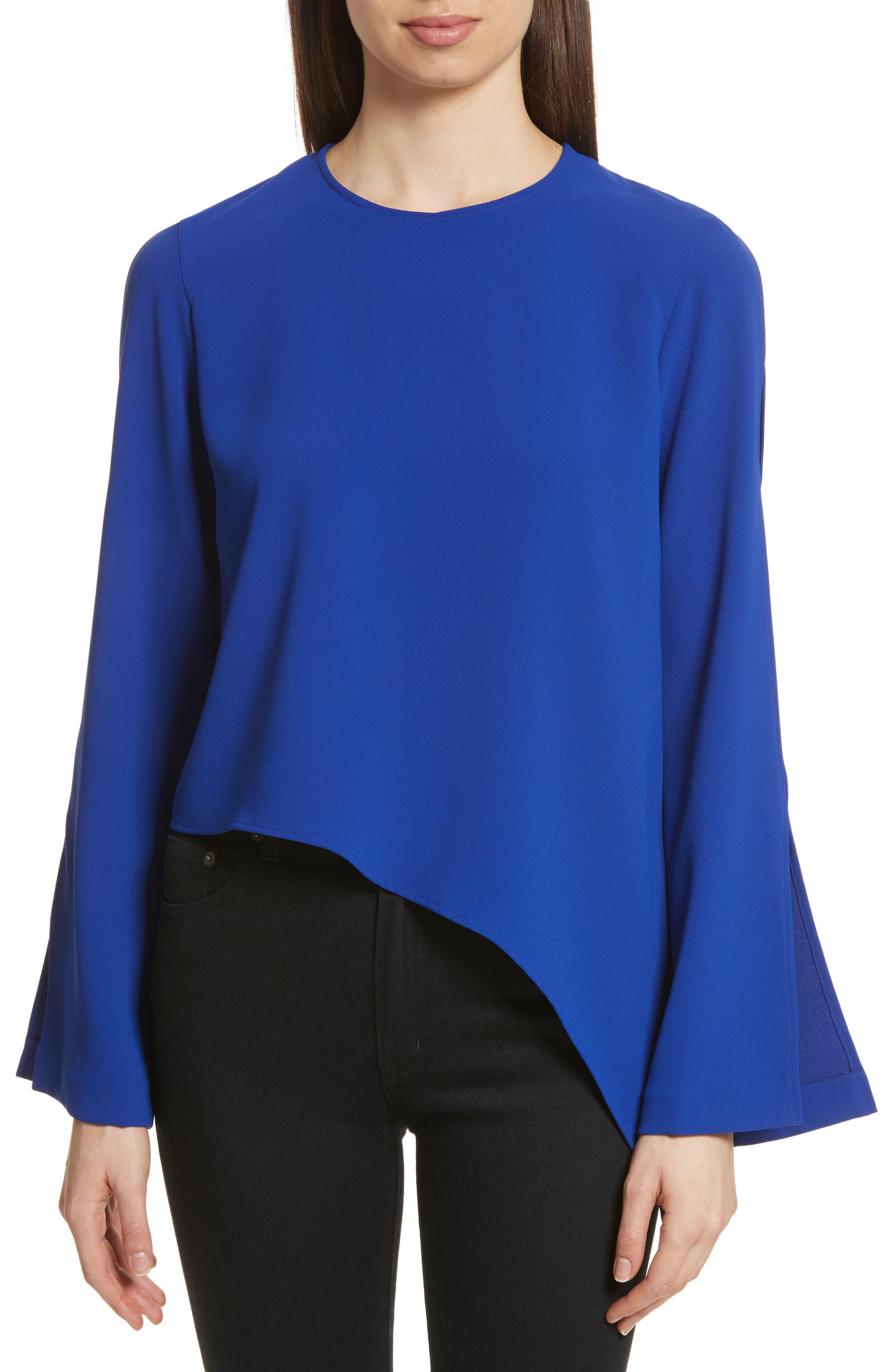 Awefa Cutout Crepe Blouse,                         Main,                         color, Electric Blue