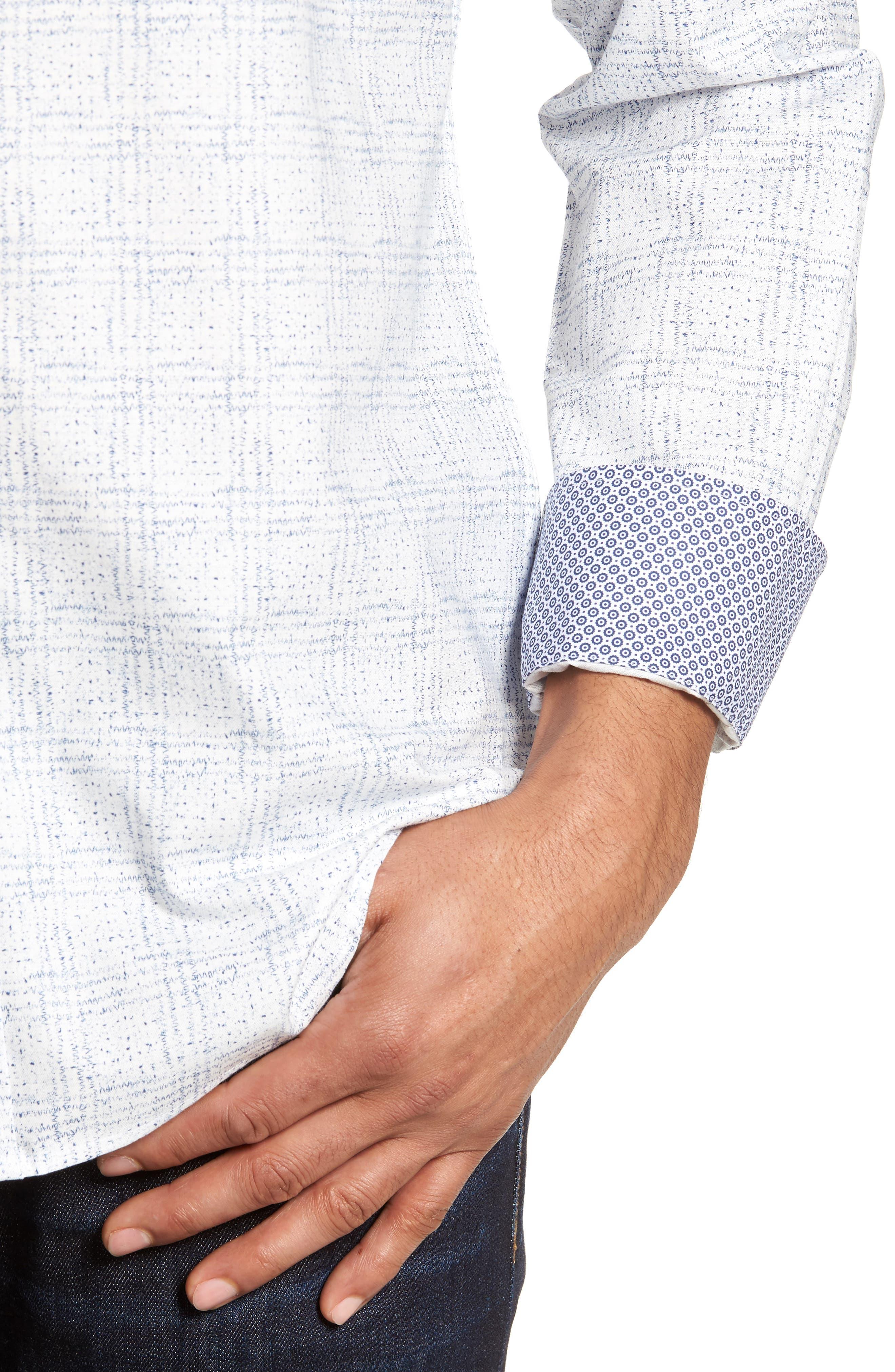 Shaped Fit Print Sport Shirt,                             Alternate thumbnail 4, color,                             Petrol