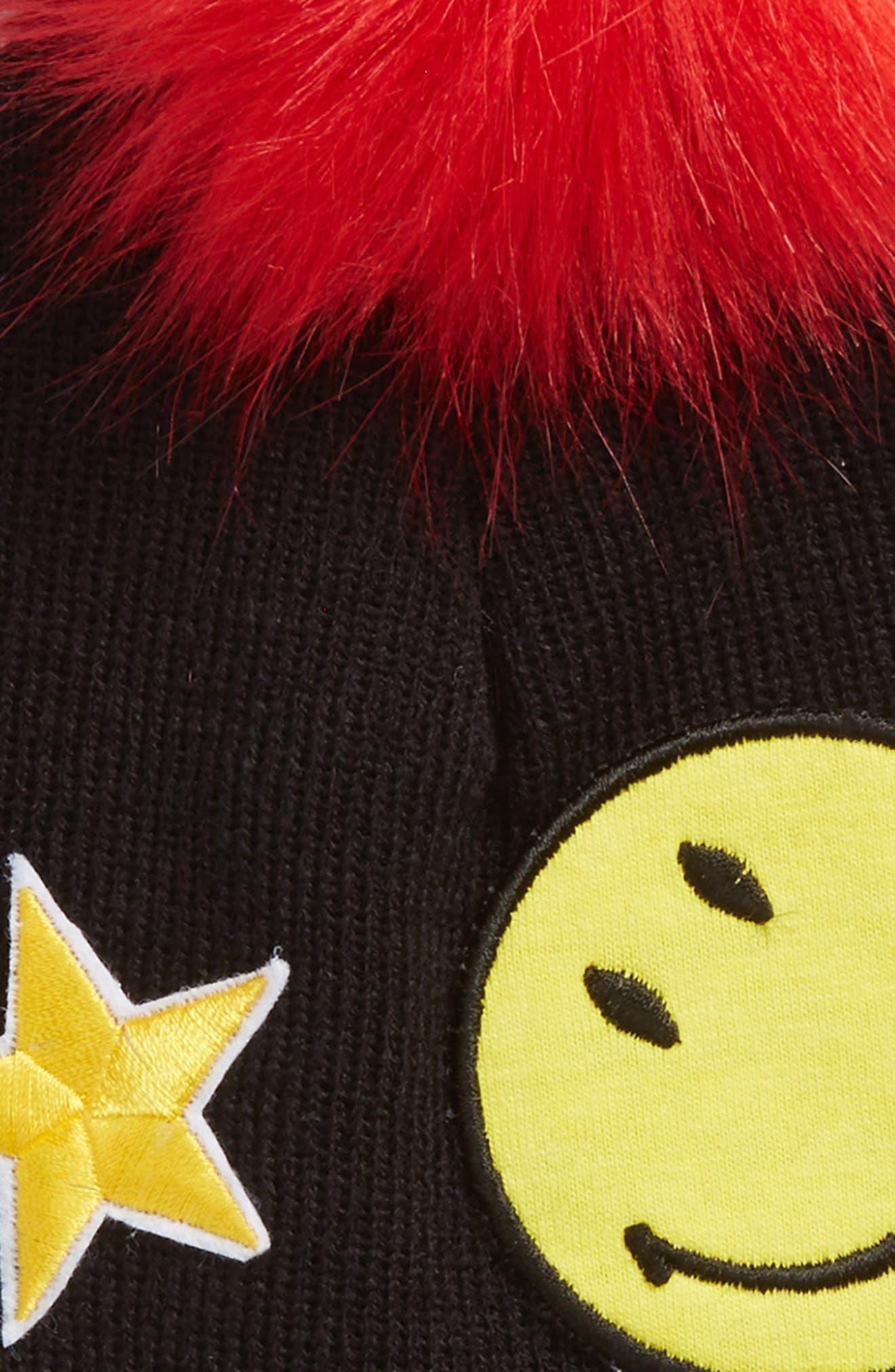 Patch Faux-Fur Pom Beanie,                             Alternate thumbnail 2, color,                             Black Patches