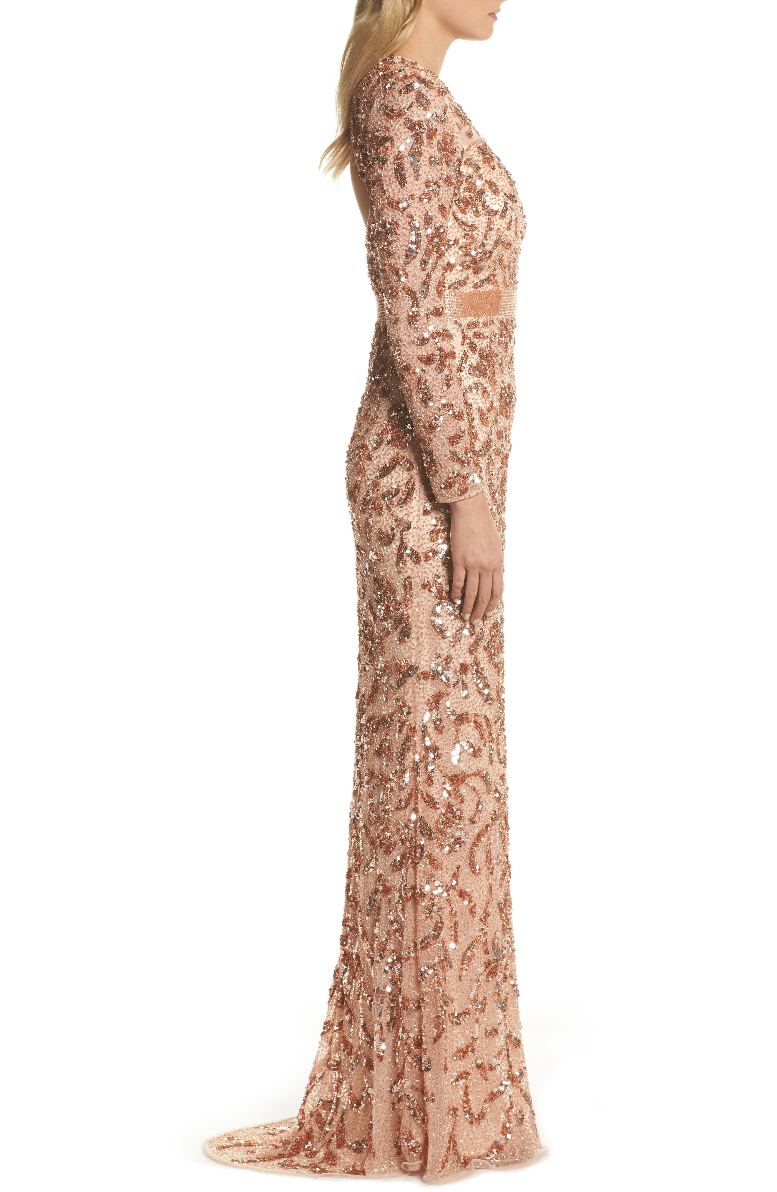 Beaded Gown,                             Alternate thumbnail 3, color,                             Rose Gold