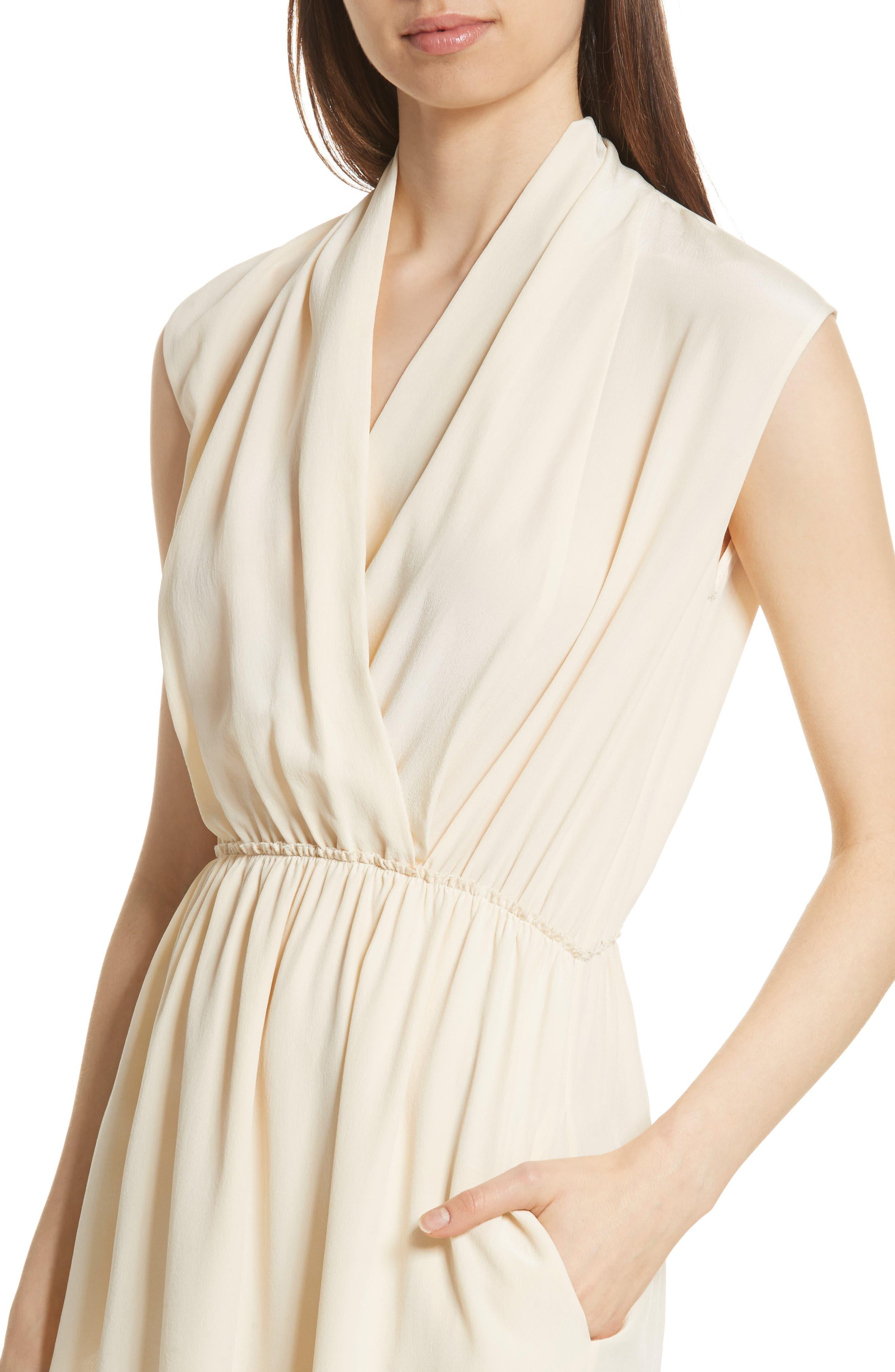 Draped Silk Cross Front Dress,                             Alternate thumbnail 4, color,                             Buttercream