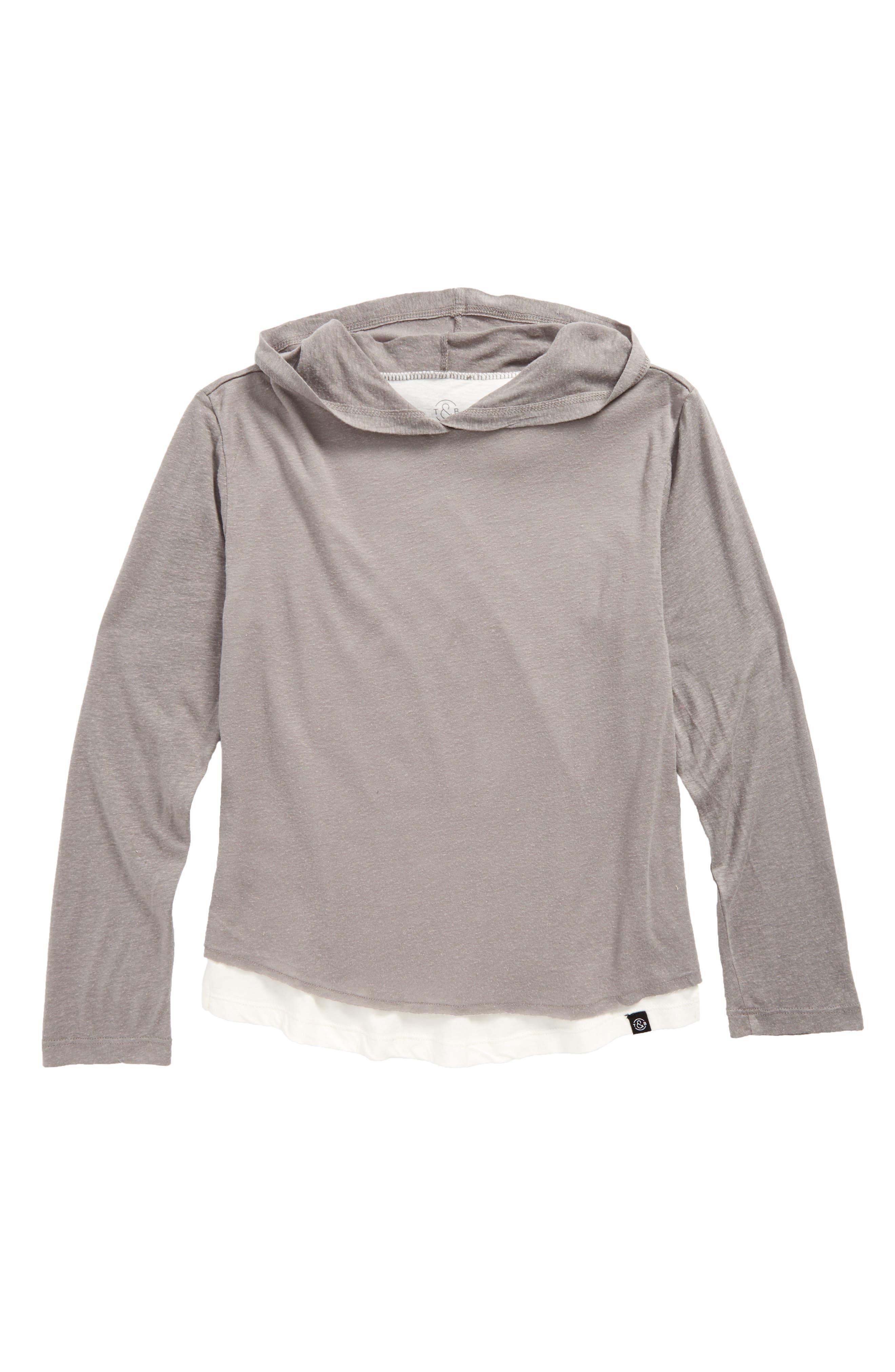 Washed Layered Hoodie,                             Main thumbnail 1, color,                             Grey Cloudburst