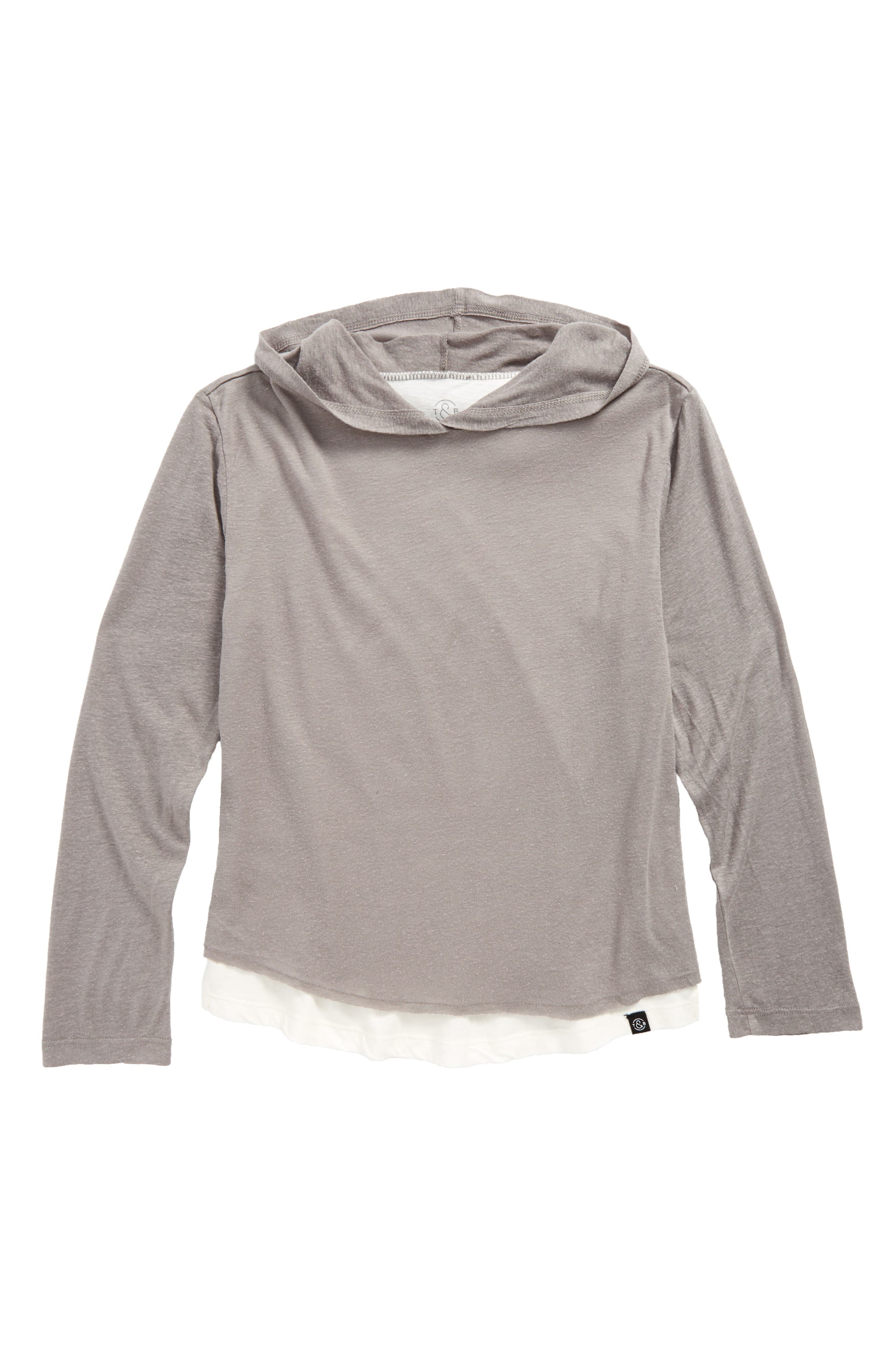 Washed Layered Hoodie,                         Main,                         color, Grey Cloudburst