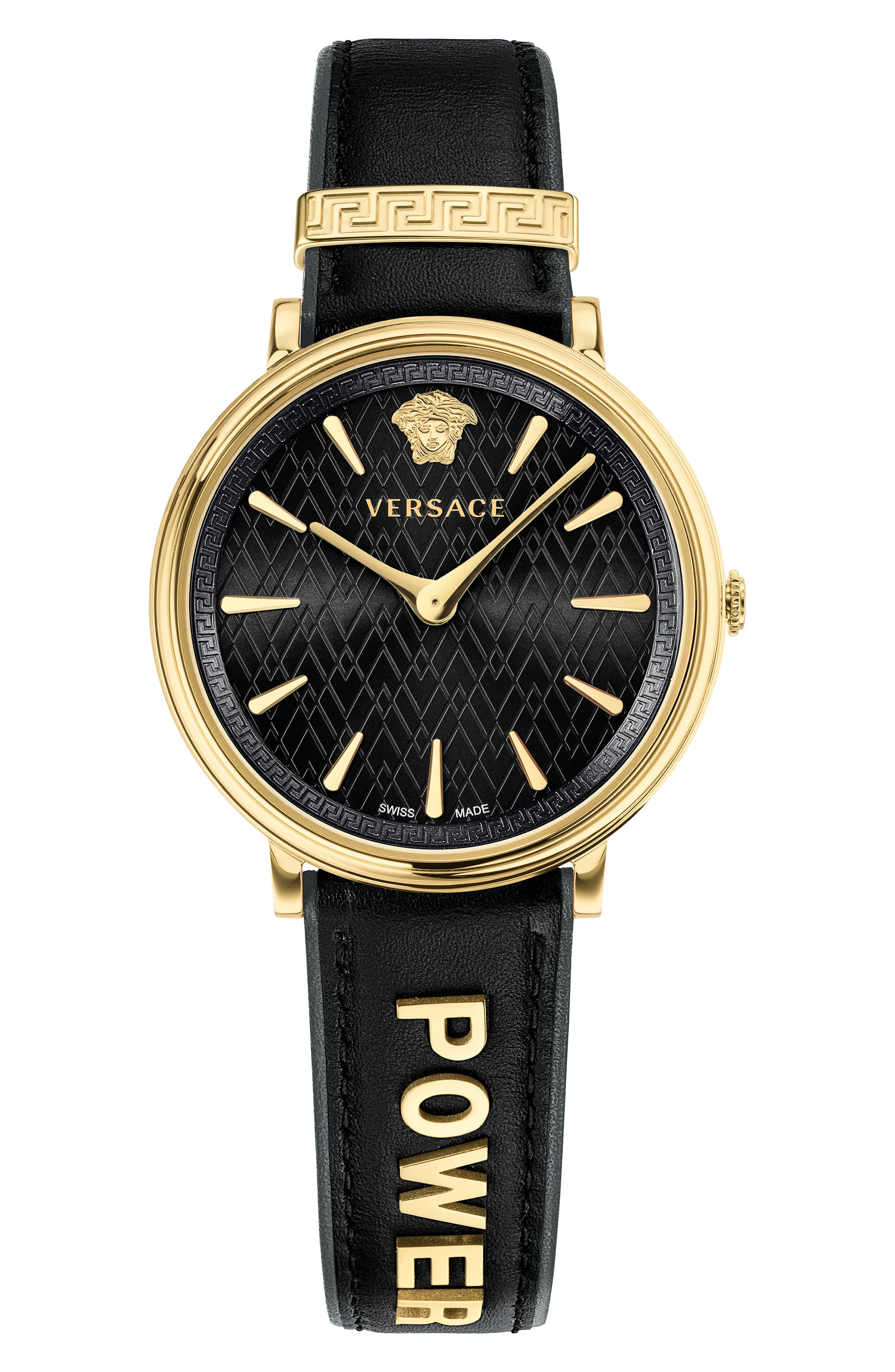 Manifesto Leather Strap Watch, 38mm,                         Main,                         color, Black/ Gold