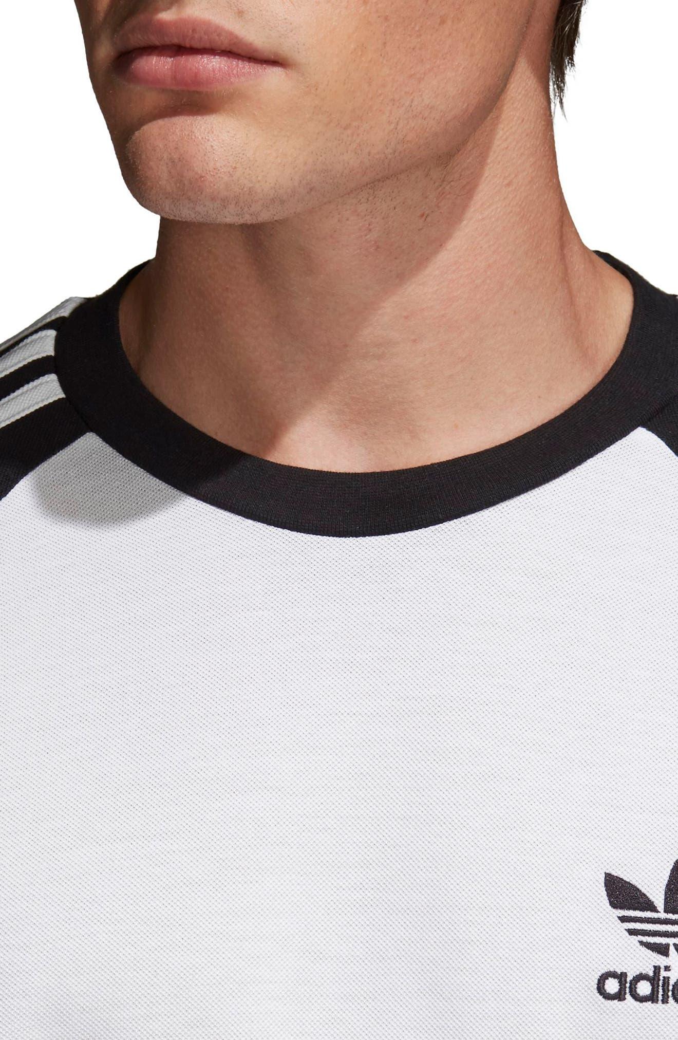 3-Stripes Long Sleeve T-Shirt,                             Alternate thumbnail 4, color,                             Black