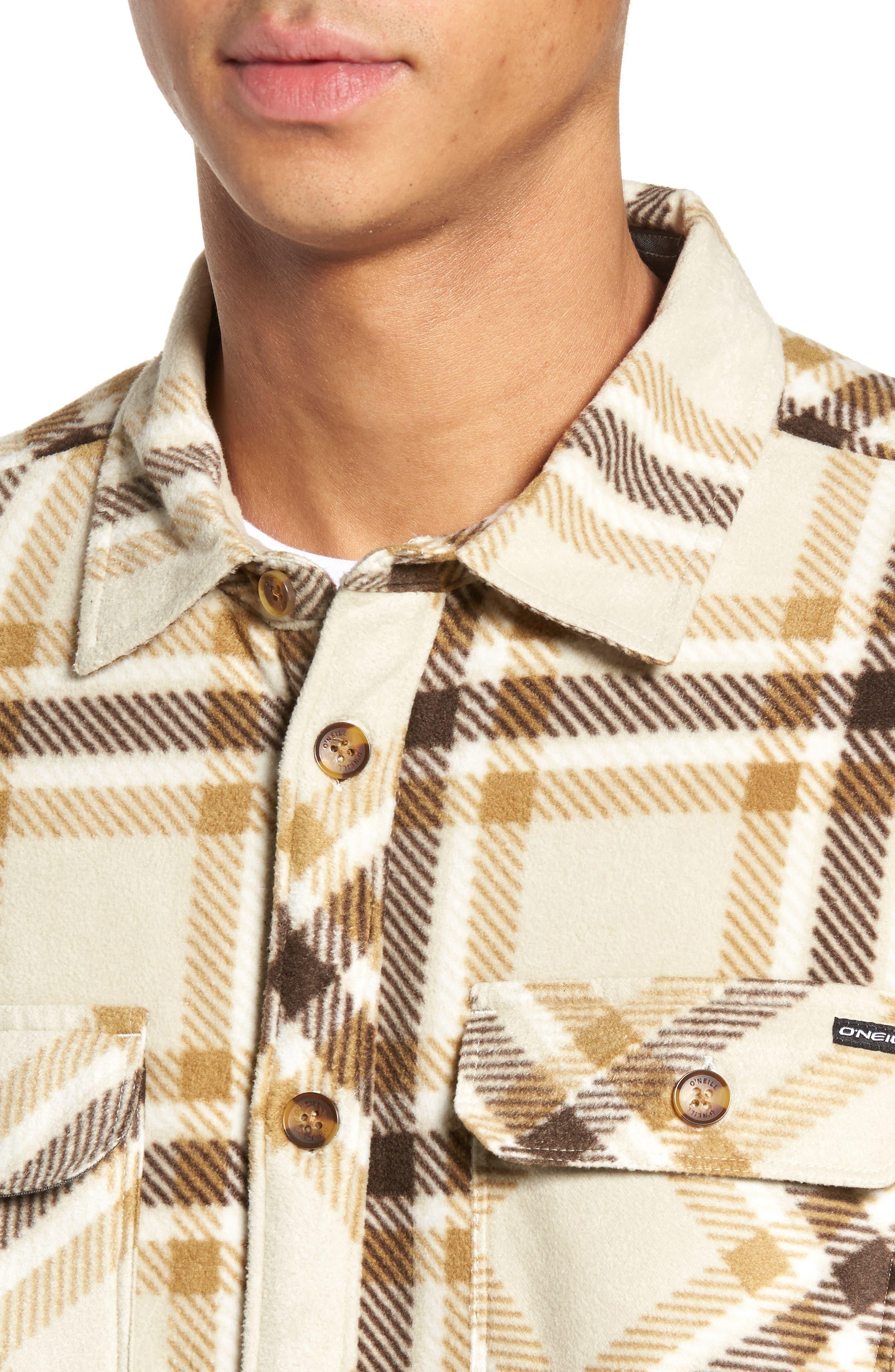Glacier Heat Dome Plaid Fleece Shirt,                             Alternate thumbnail 4, color,                             Stone