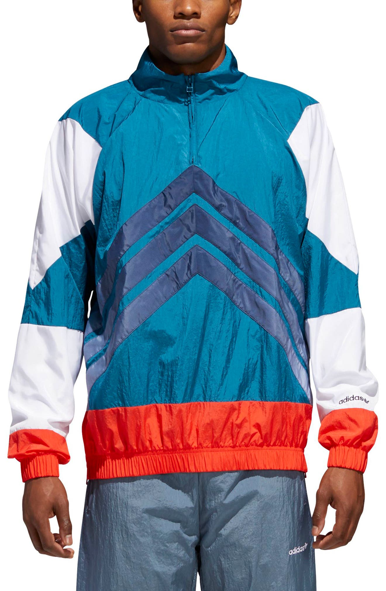 V Stripes Windbreaker,                             Main thumbnail 1, color,                             Hii Res Red