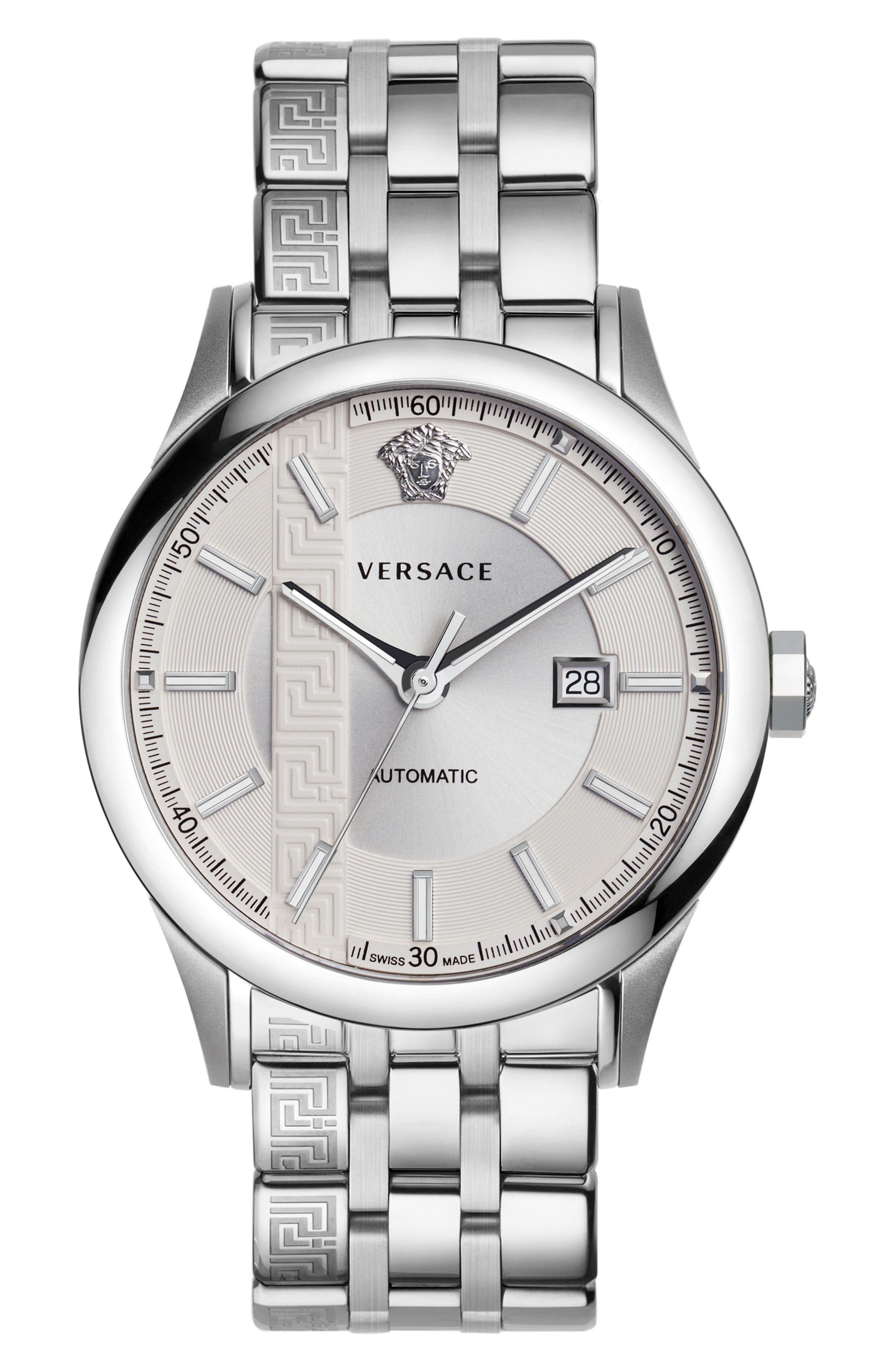 Aiakos Automatic Bracelet Watch, 44mm,                         Main,                         color, Silver