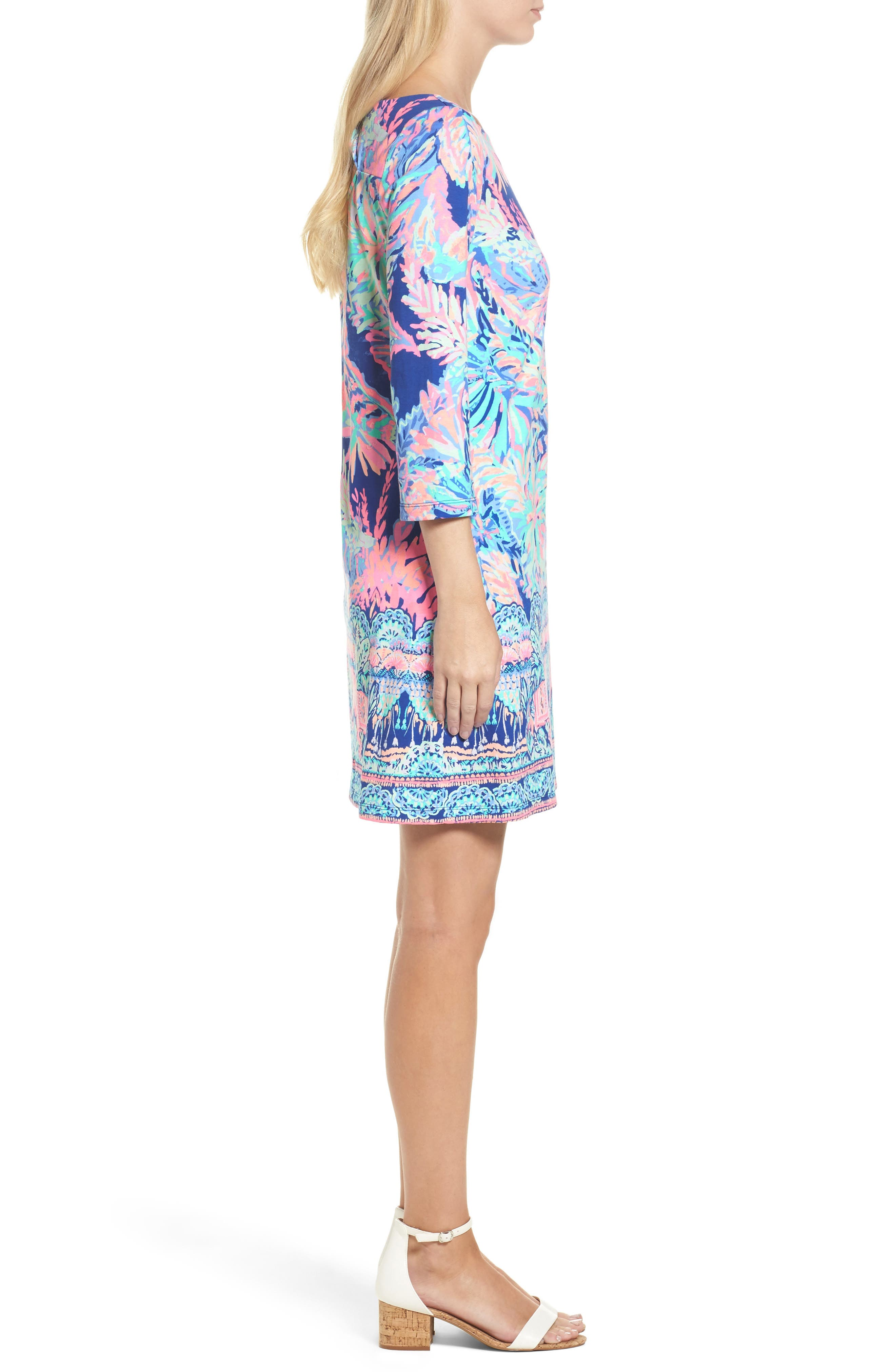 Bay Shift Dress,                             Alternate thumbnail 3, color,                             Multi Sunset Safari Engineered