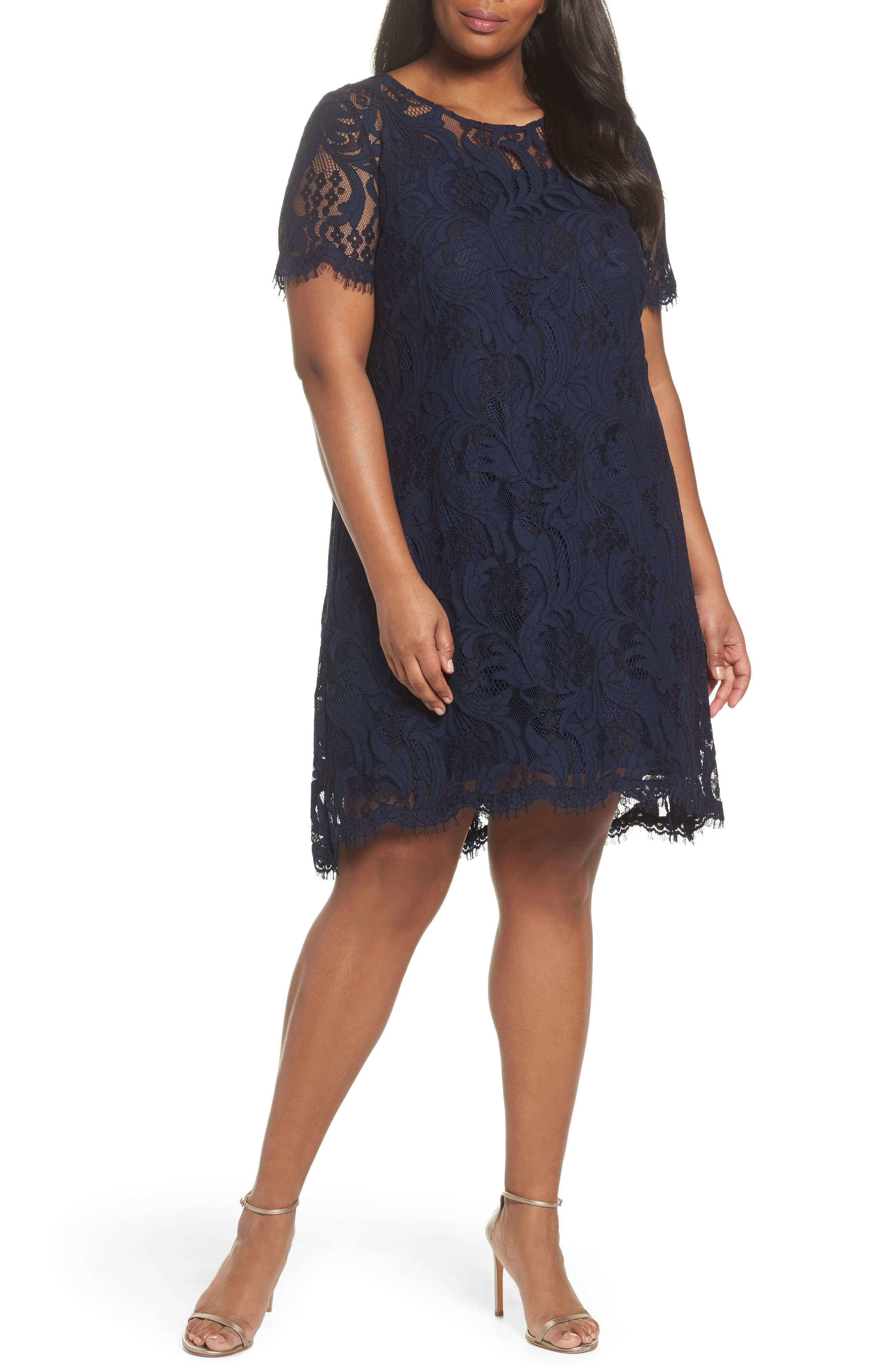 Lace High/Low Dress,                             Main thumbnail 1, color,                             Navy