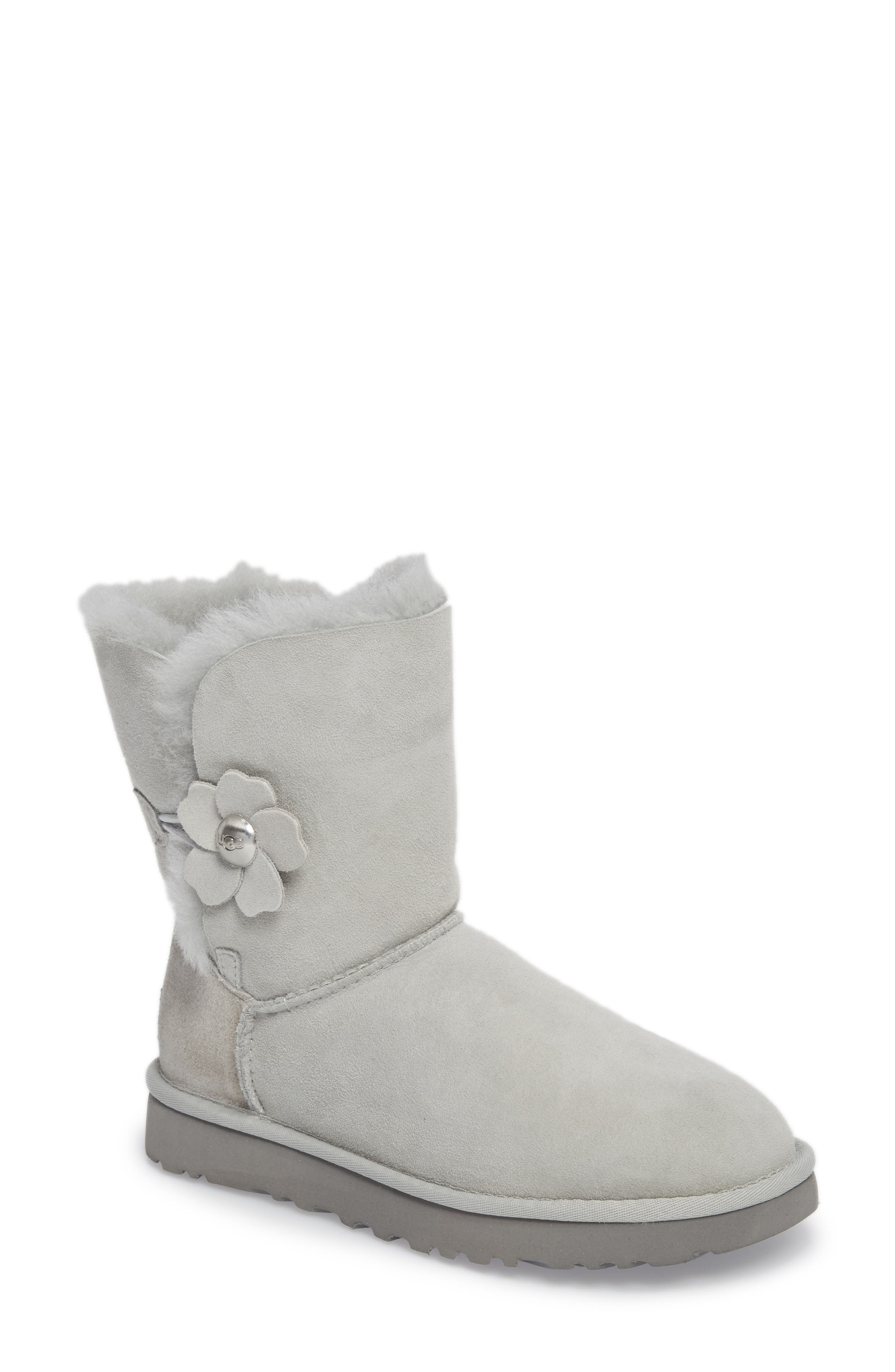 Bailey Button Poppy Genuine Shearling Boot,                             Main thumbnail 1, color,                             Grey Violet