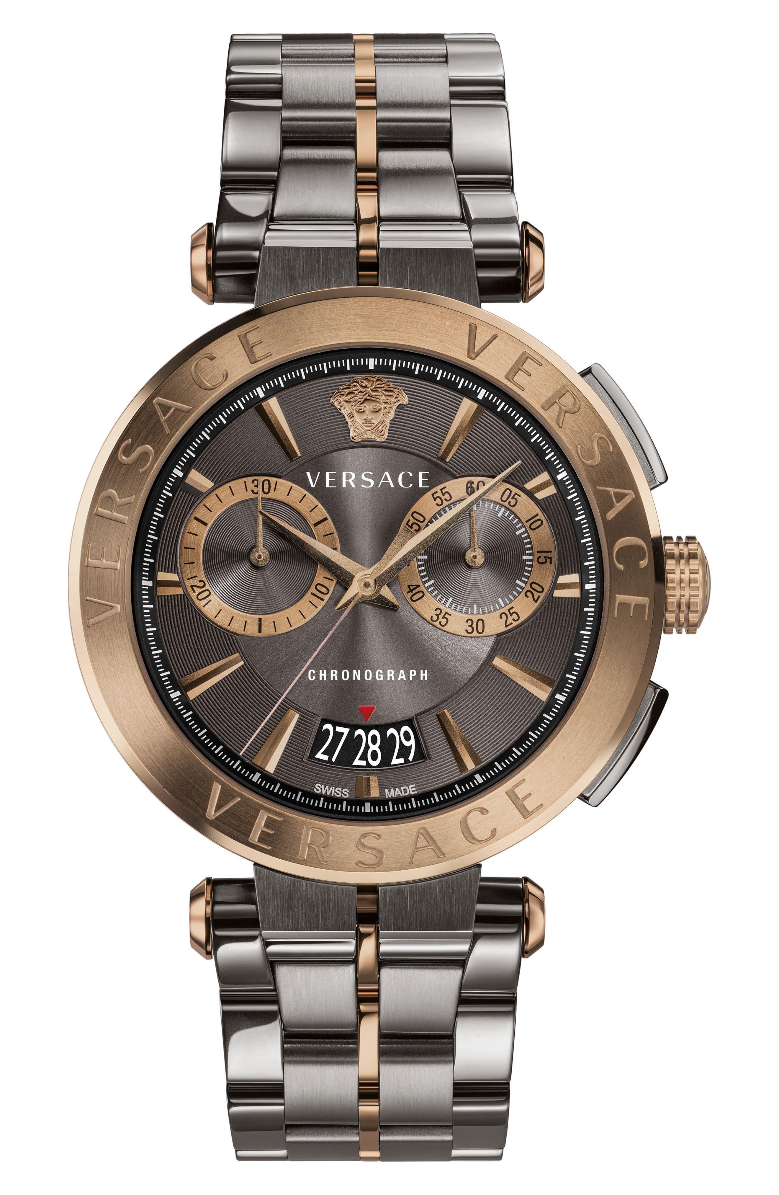 Main Image - Versace Aion Chronograph Bracelet Watch, 45mm