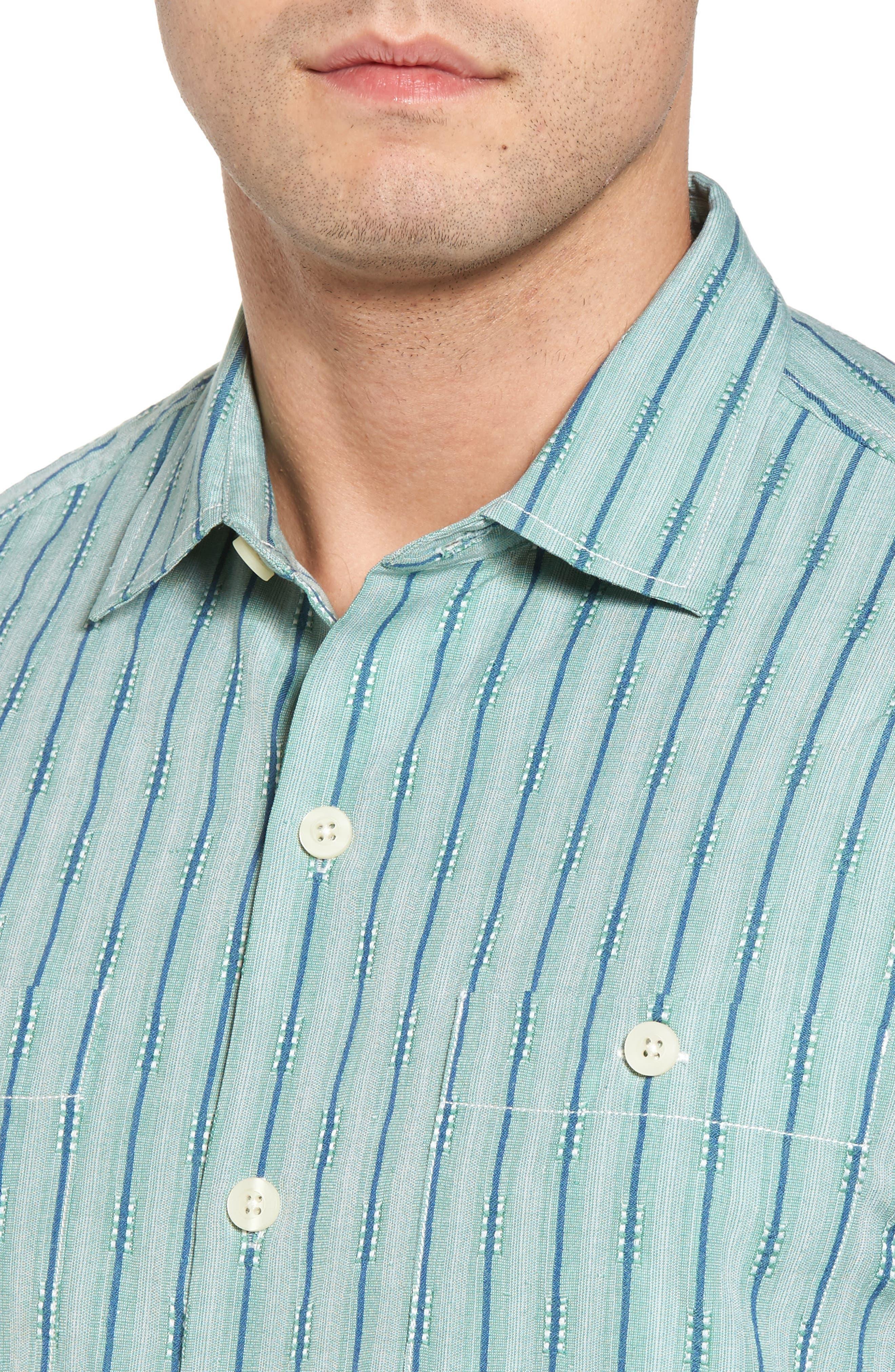 Florida Geometric Line Silk Blend Camp Shirt,                             Alternate thumbnail 4, color,                             Deep Grass Green