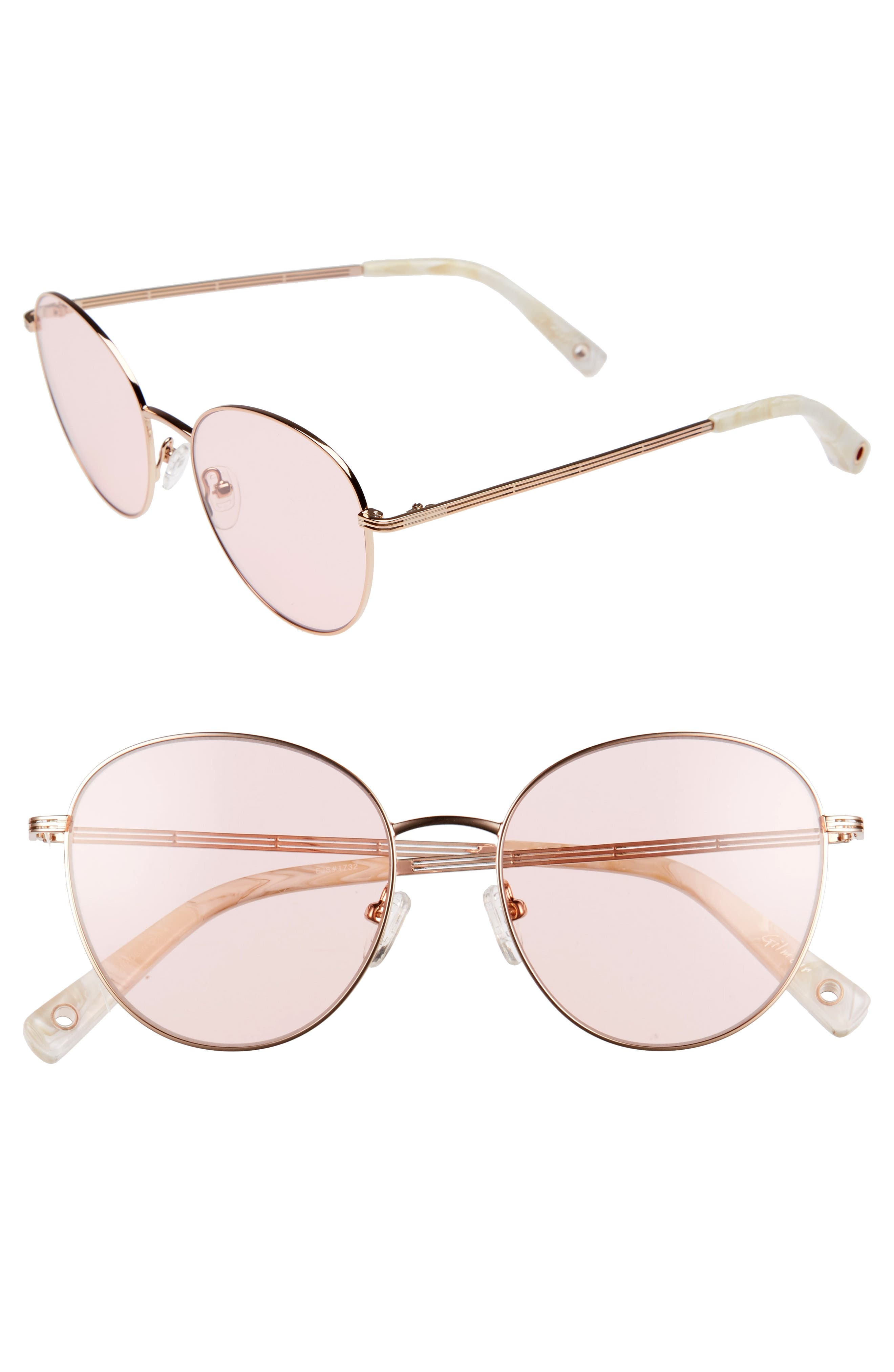 Gilmour 53mm Round Sunglasses & Beaded Chain,                         Main,                         color, Rose Gold/ Pink