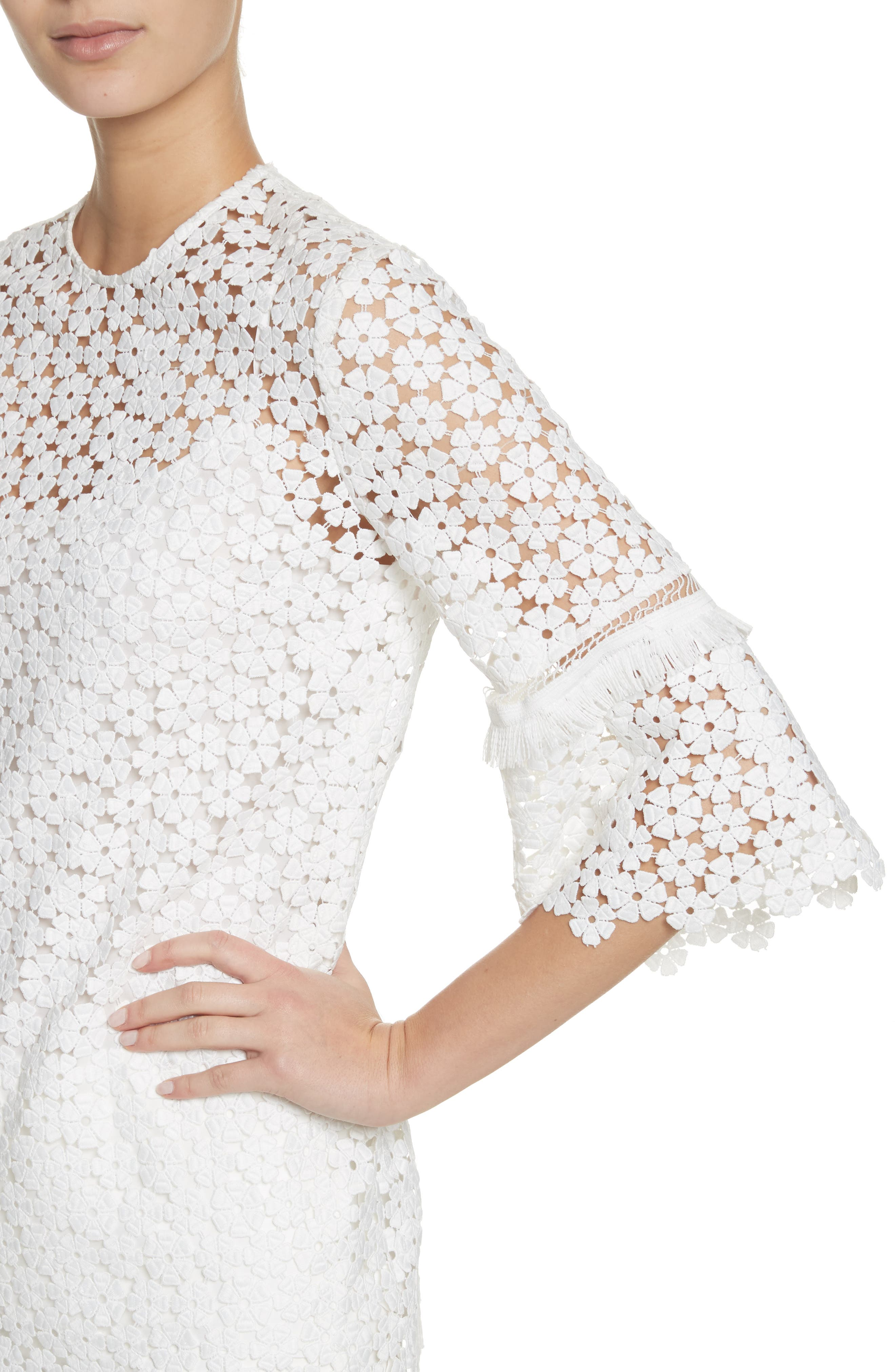 Flare Sleeve Lace Top,                             Alternate thumbnail 4, color,                             White