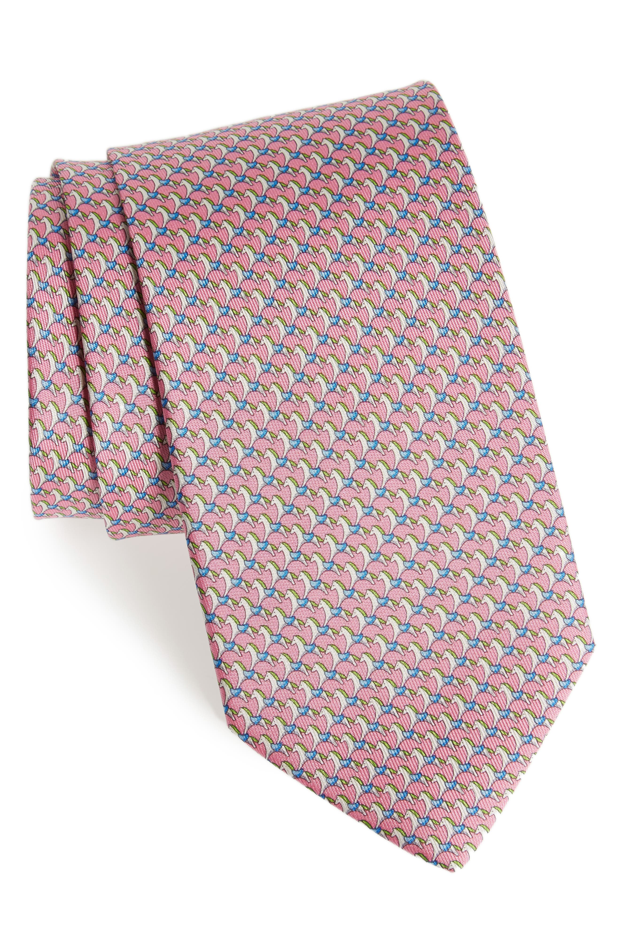 Edwin Print Silk Tie,                             Main thumbnail 1, color,                             Pink