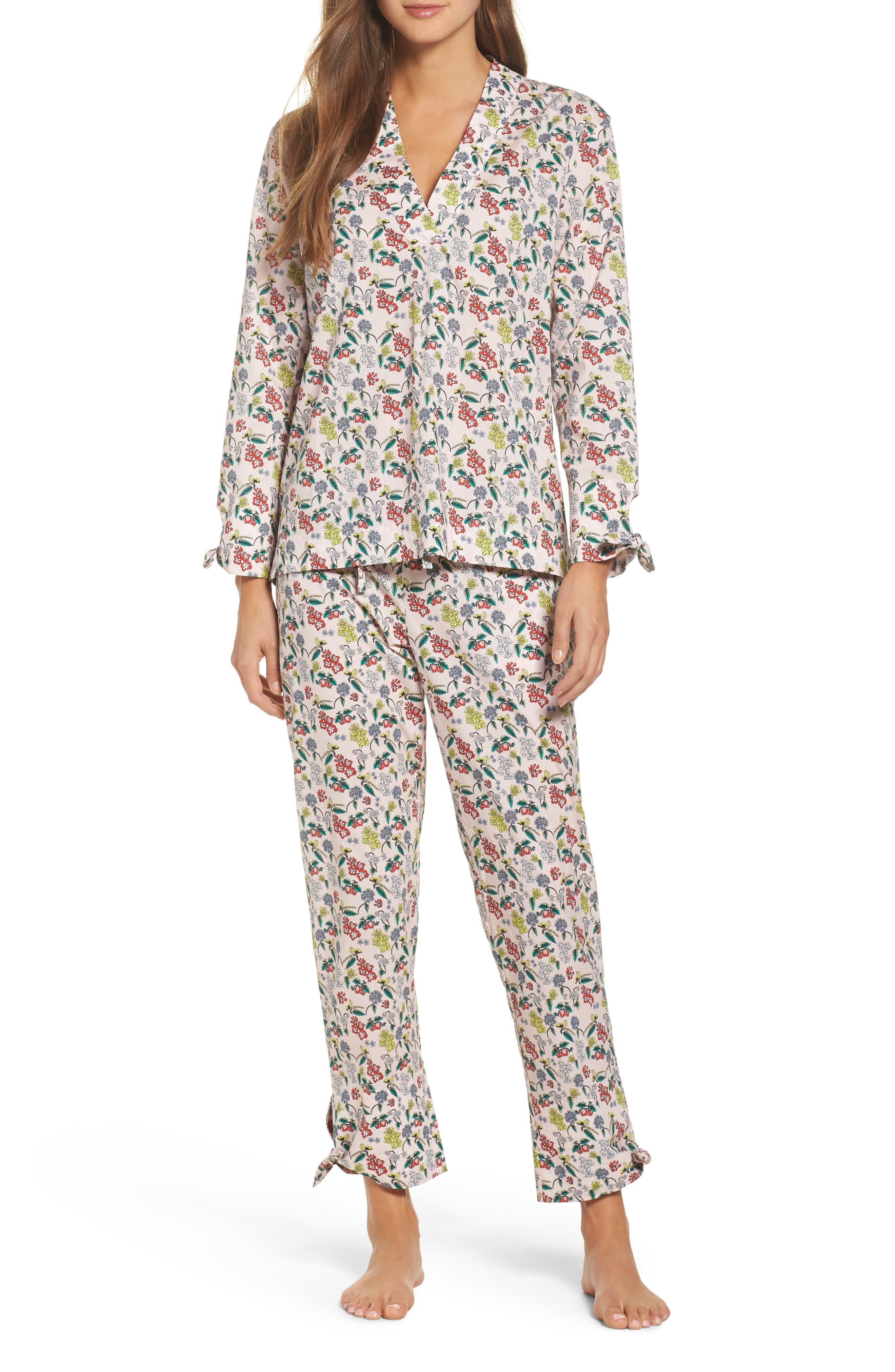 Main Image - Yolke Print Cotton Poplin Pajamas