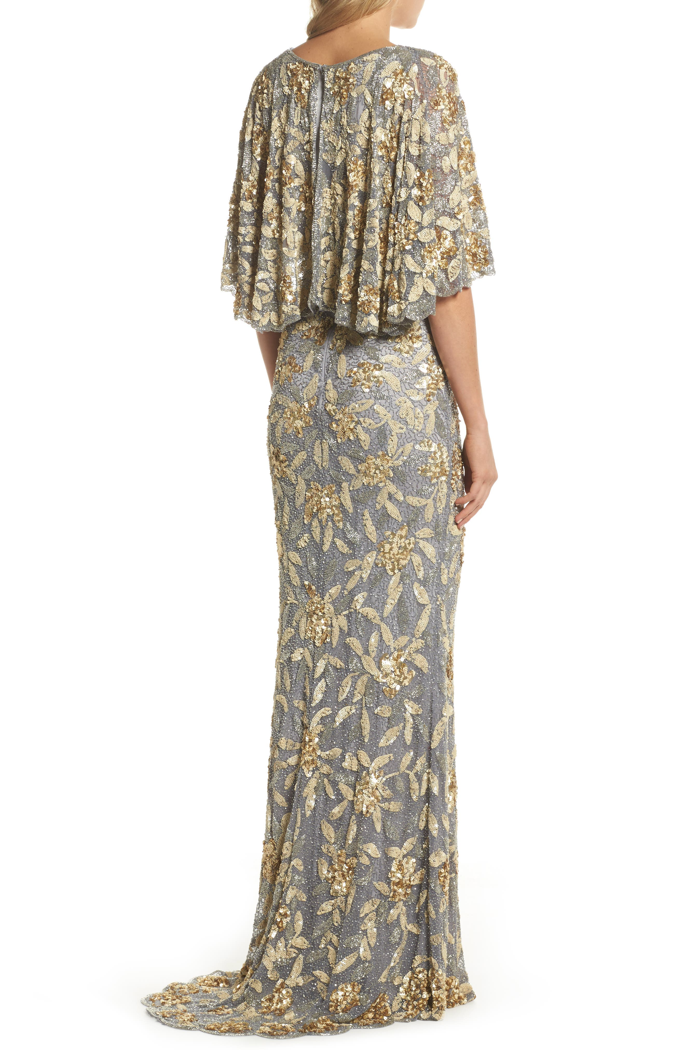 Sequin & Bead Embellished Gown,                             Alternate thumbnail 2, color,                             Platinum/ Gold