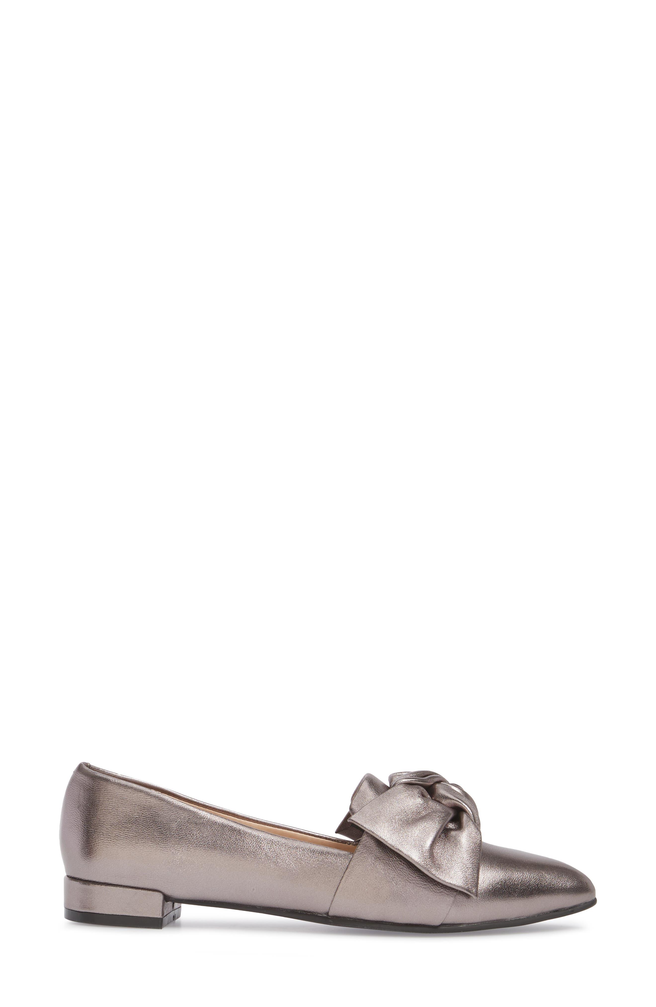 Kari Bow Loafer,                             Alternate thumbnail 3, color,                             Pewter Metallic Leather