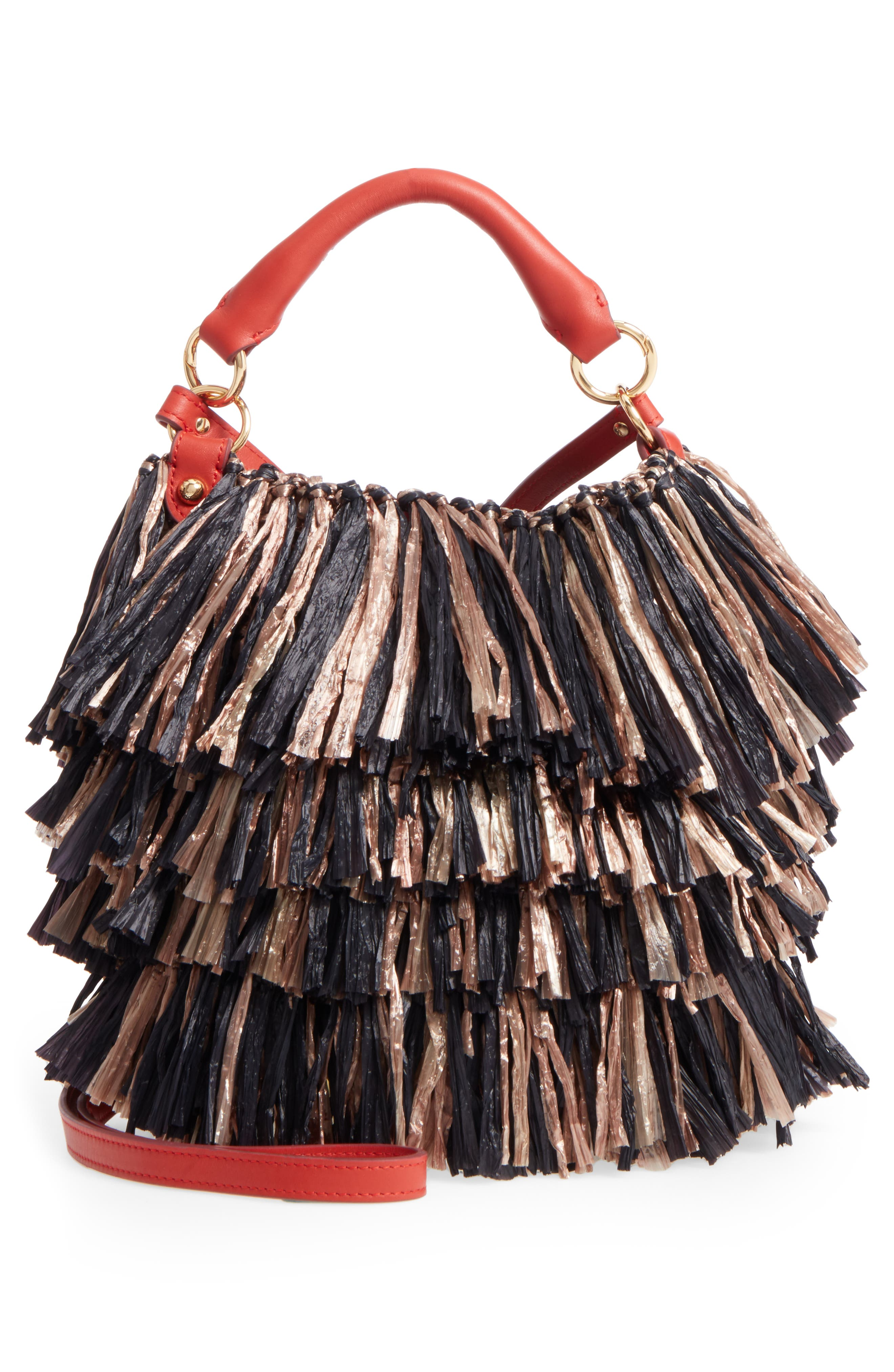 Main Image - Diane von Furstenberg Raffia Fringe Bucket Bag