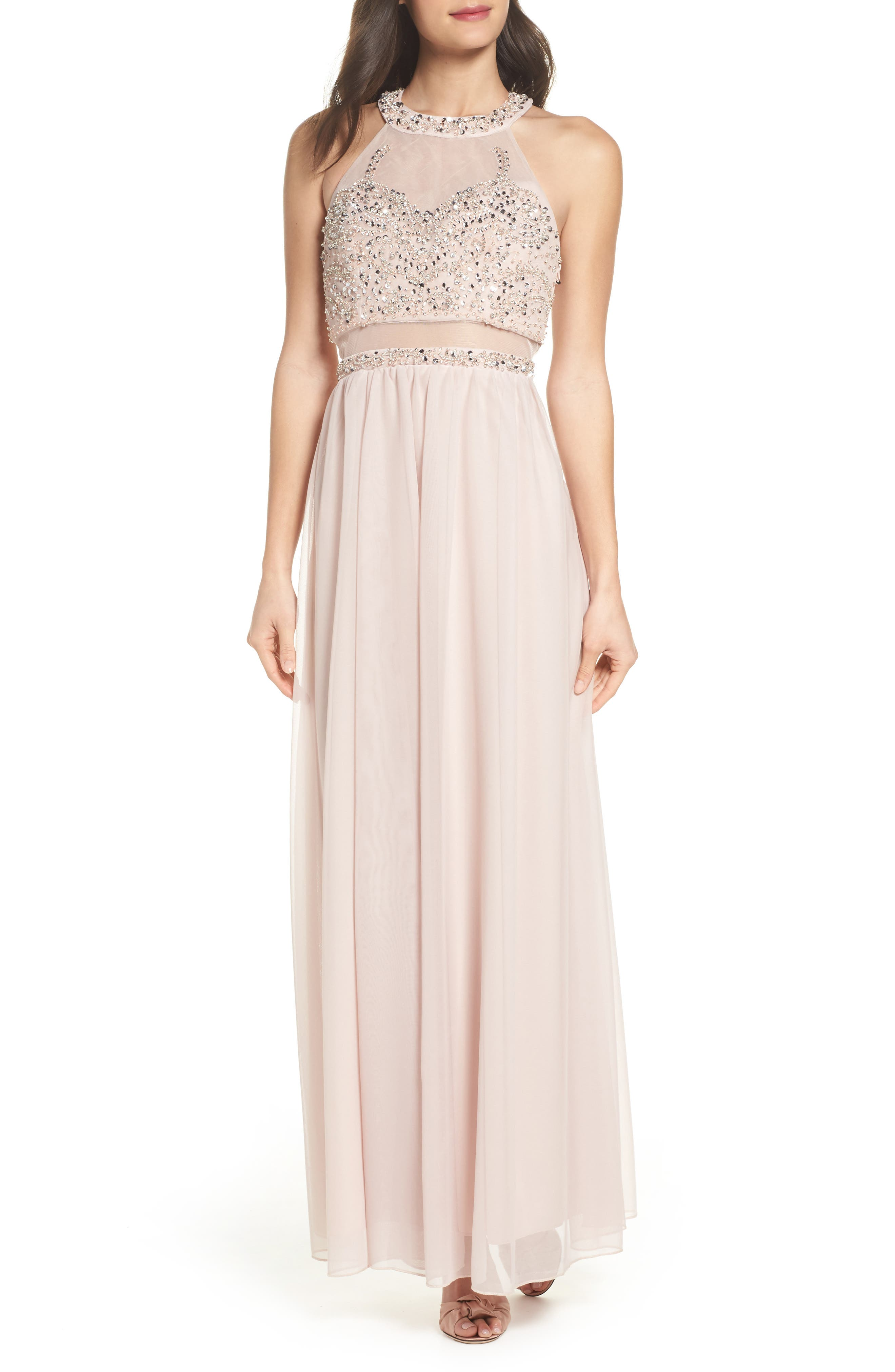 Beaded Jersey Halter Gown,                         Main,                         color, Buff