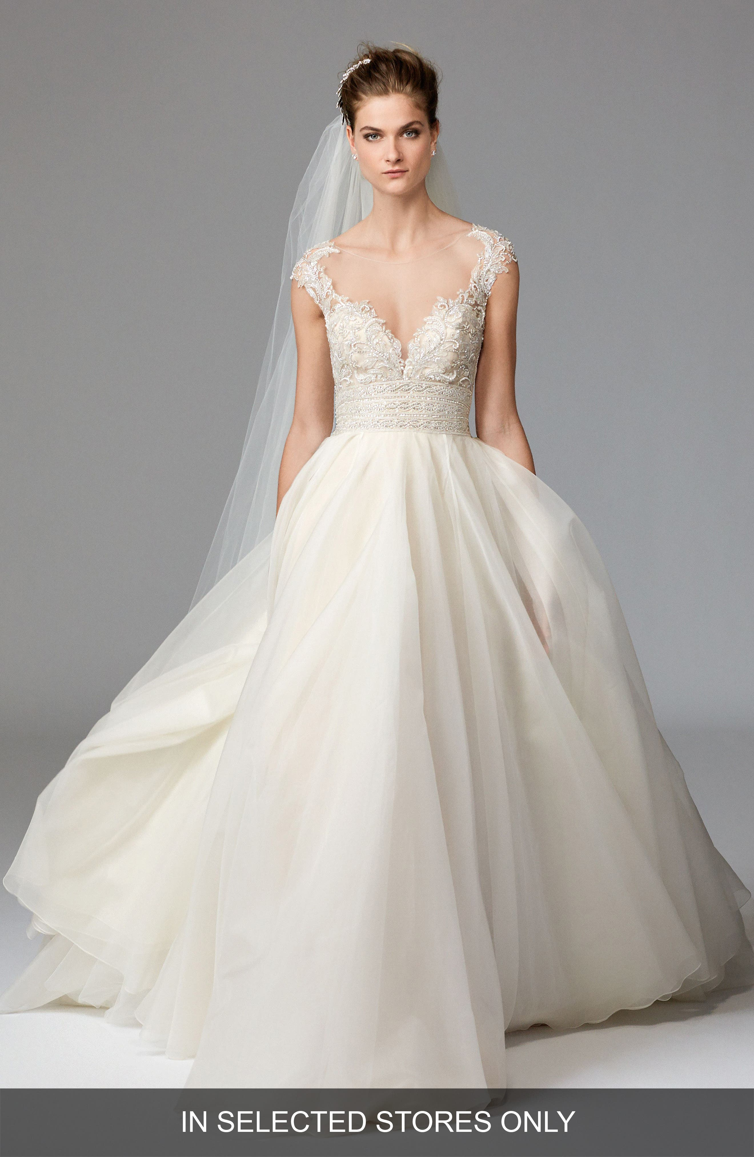 Alternate Image 1 Selected - Watters Azalea Lace & Organza Ballgown