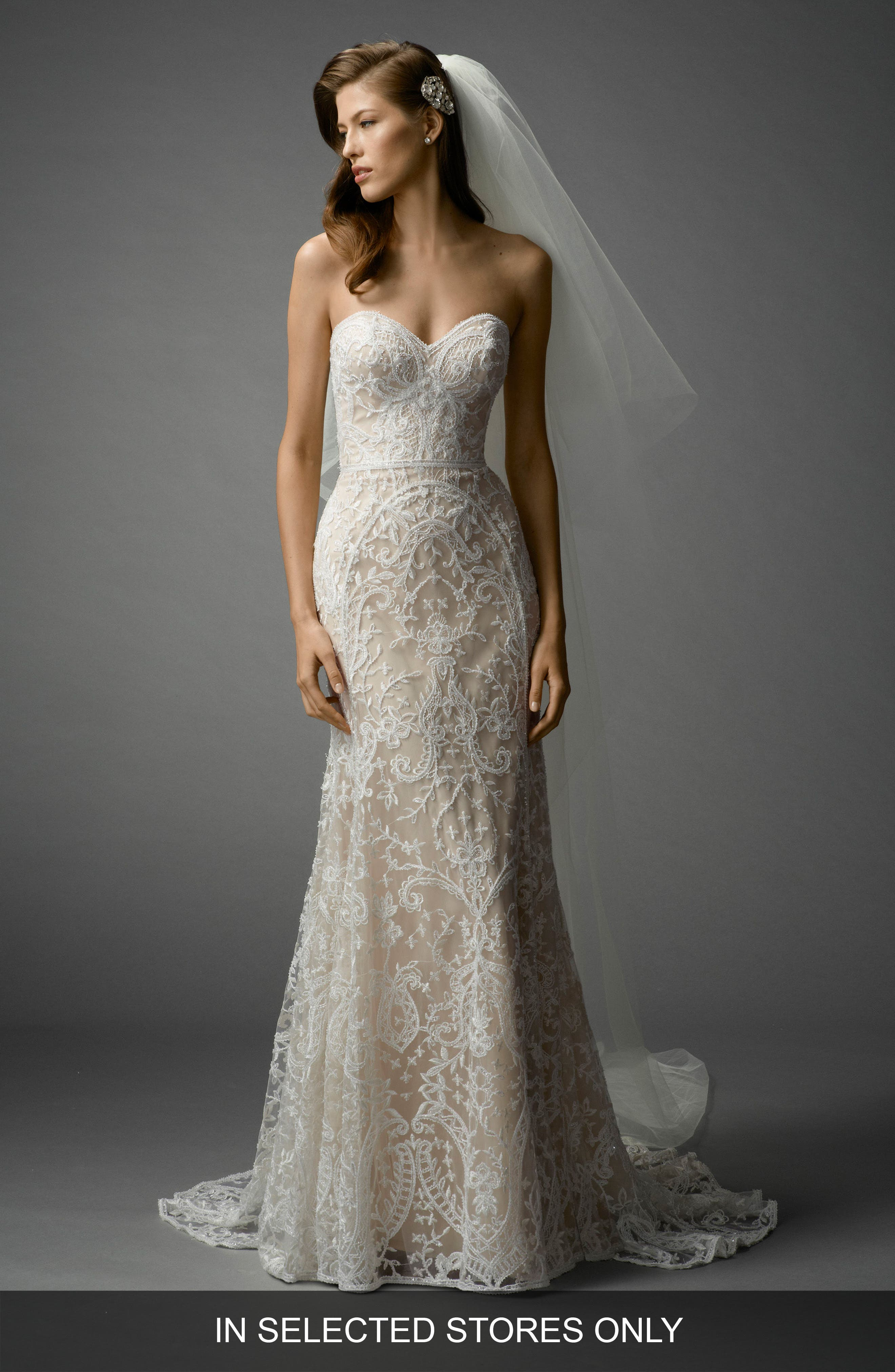 Nyra Embroidered Strapless A-Line Gown,                             Main thumbnail 1, color,                             Ivory/Almond