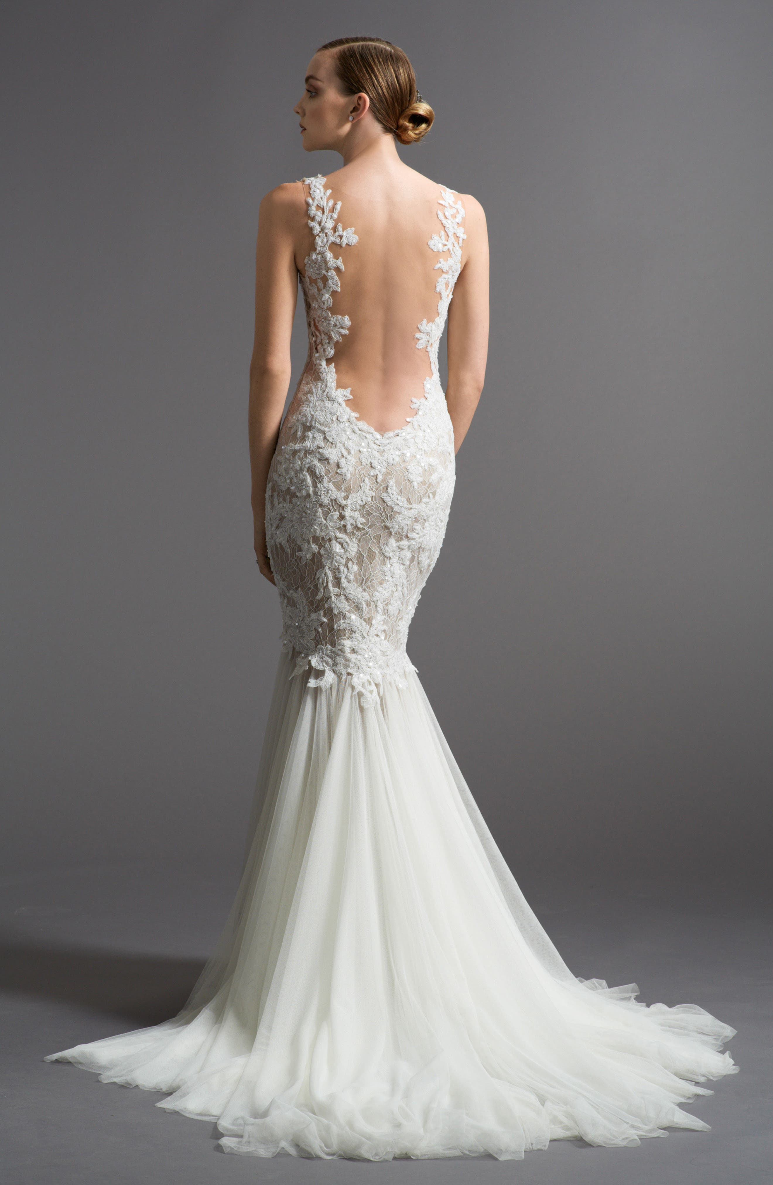 Alternate Image 2  - Watters Cinzia Lace & Tulle Mermaid Gown