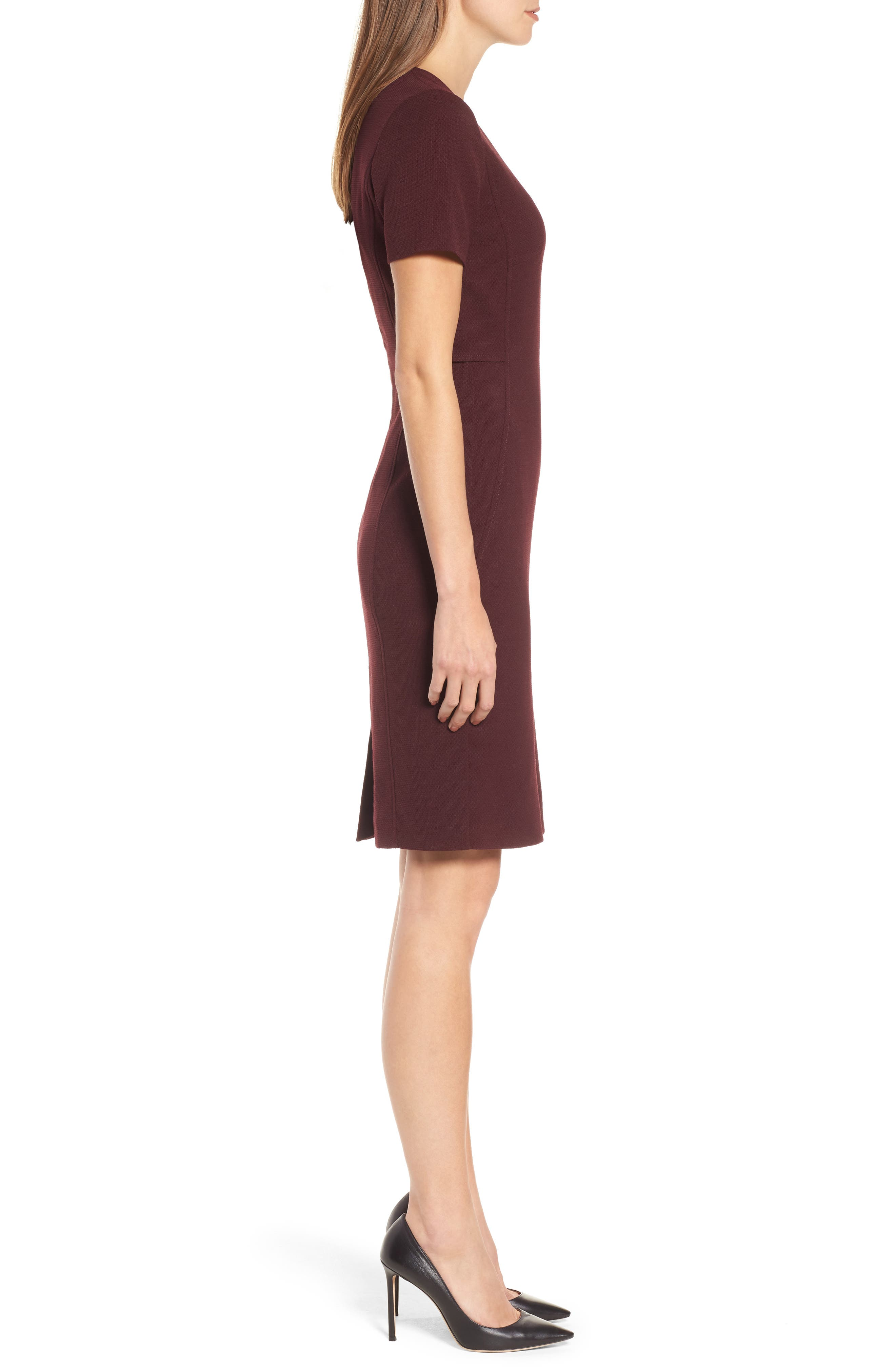 Domandia Stretch Wool Sheath Dress,                             Alternate thumbnail 3, color,                             Mulberry