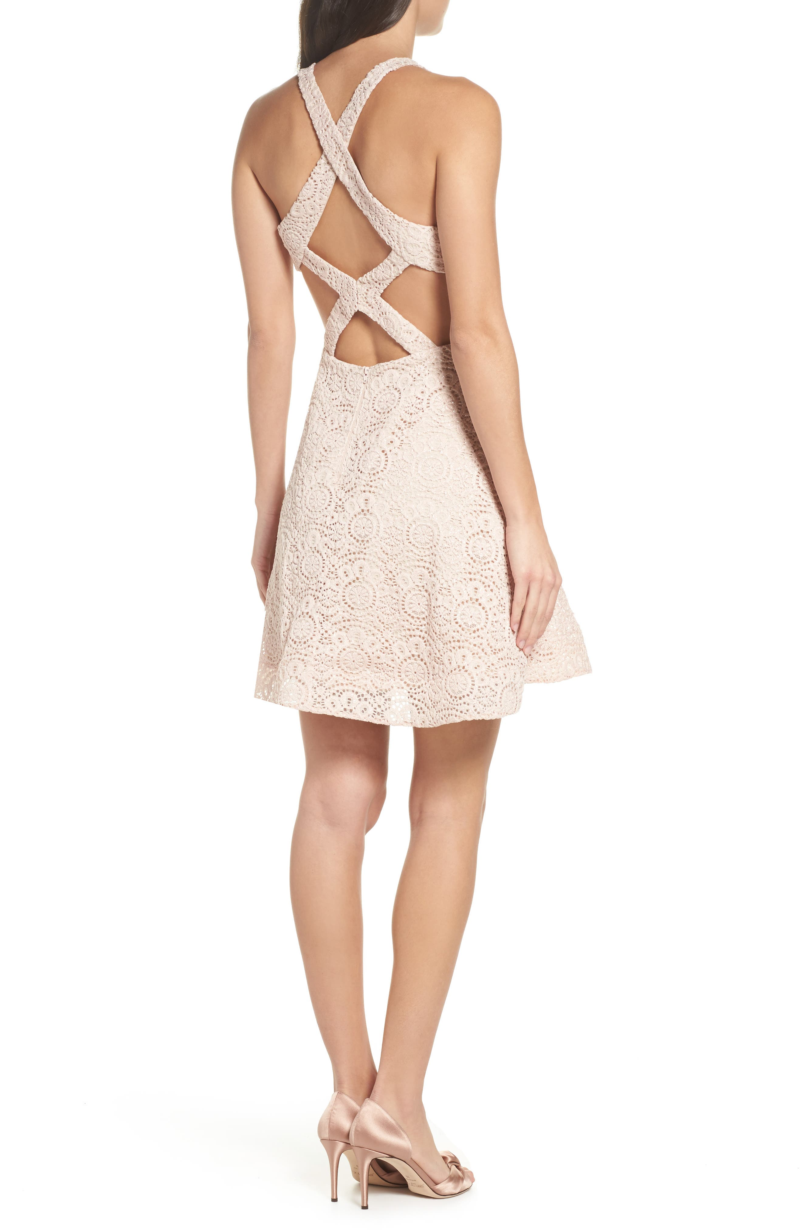 Glitter Lace Strappy Back Party Dress,                             Alternate thumbnail 2, color,                             Blush/ Nude