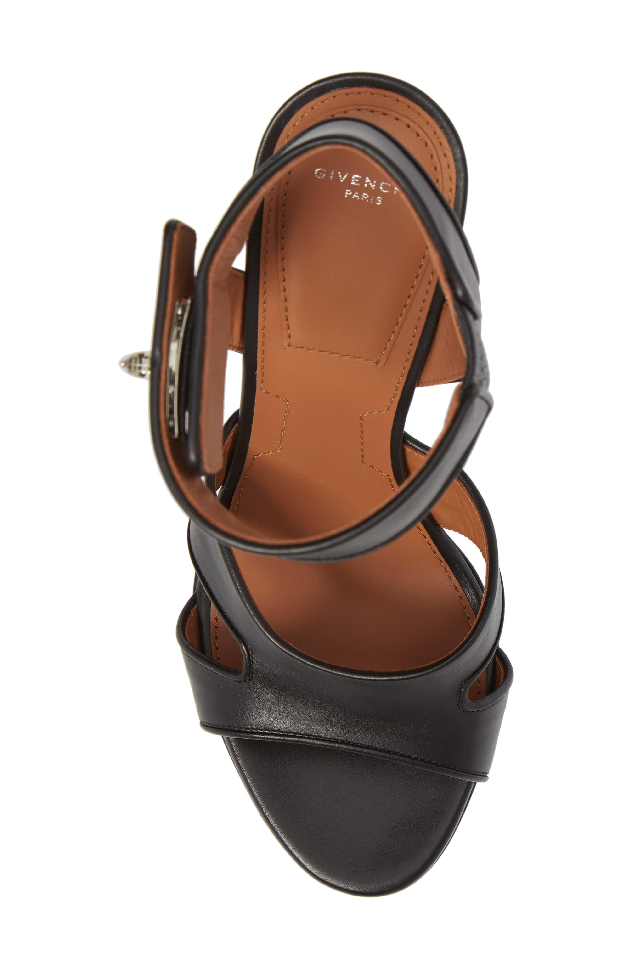 Shark Tooth Platform Sandal,                             Alternate thumbnail 5, color,                             Black