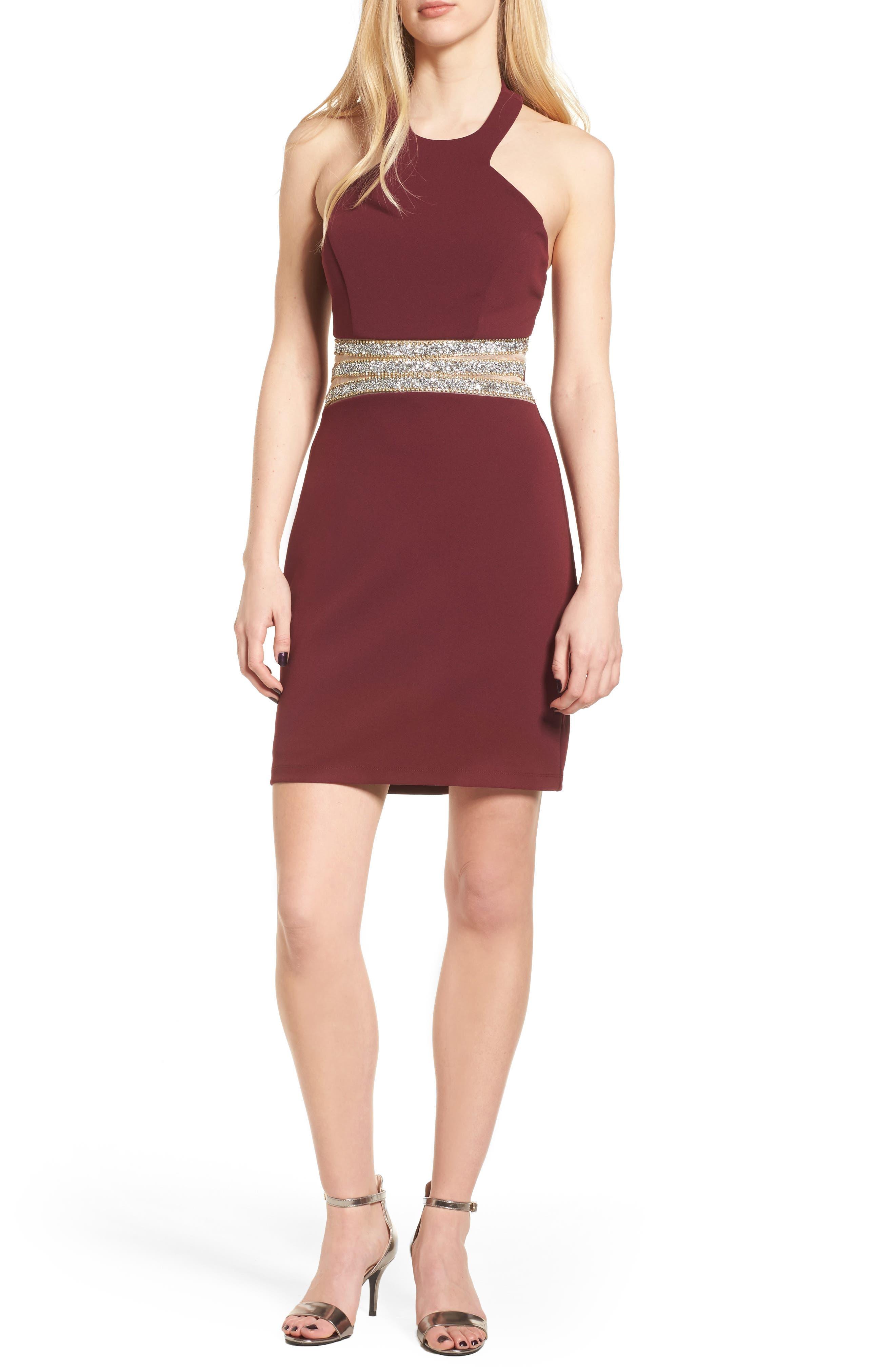 Embellished Halter Body-Con Dress,                         Main,                         color, Wine